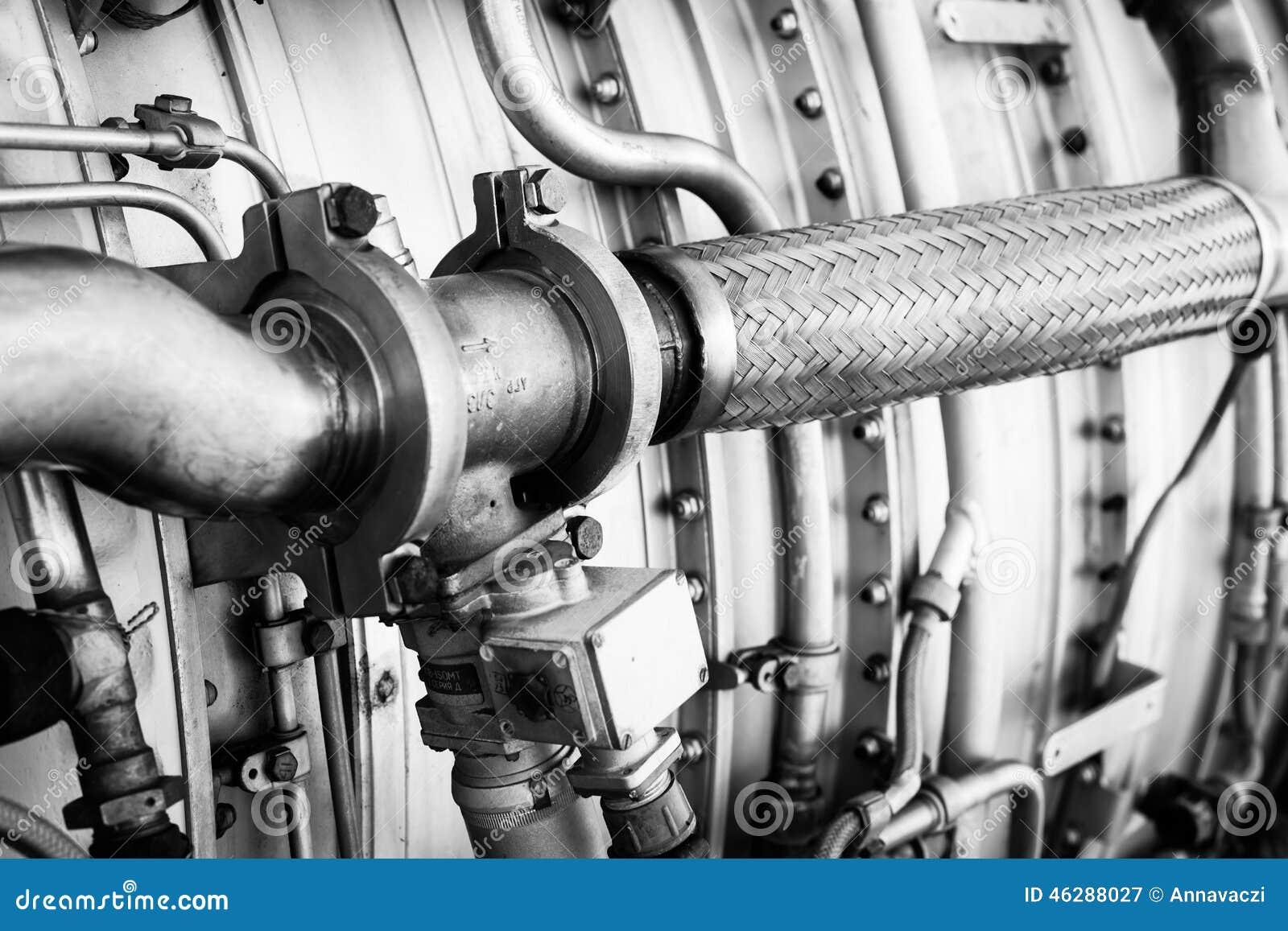 De close-up van het straalmotordetail