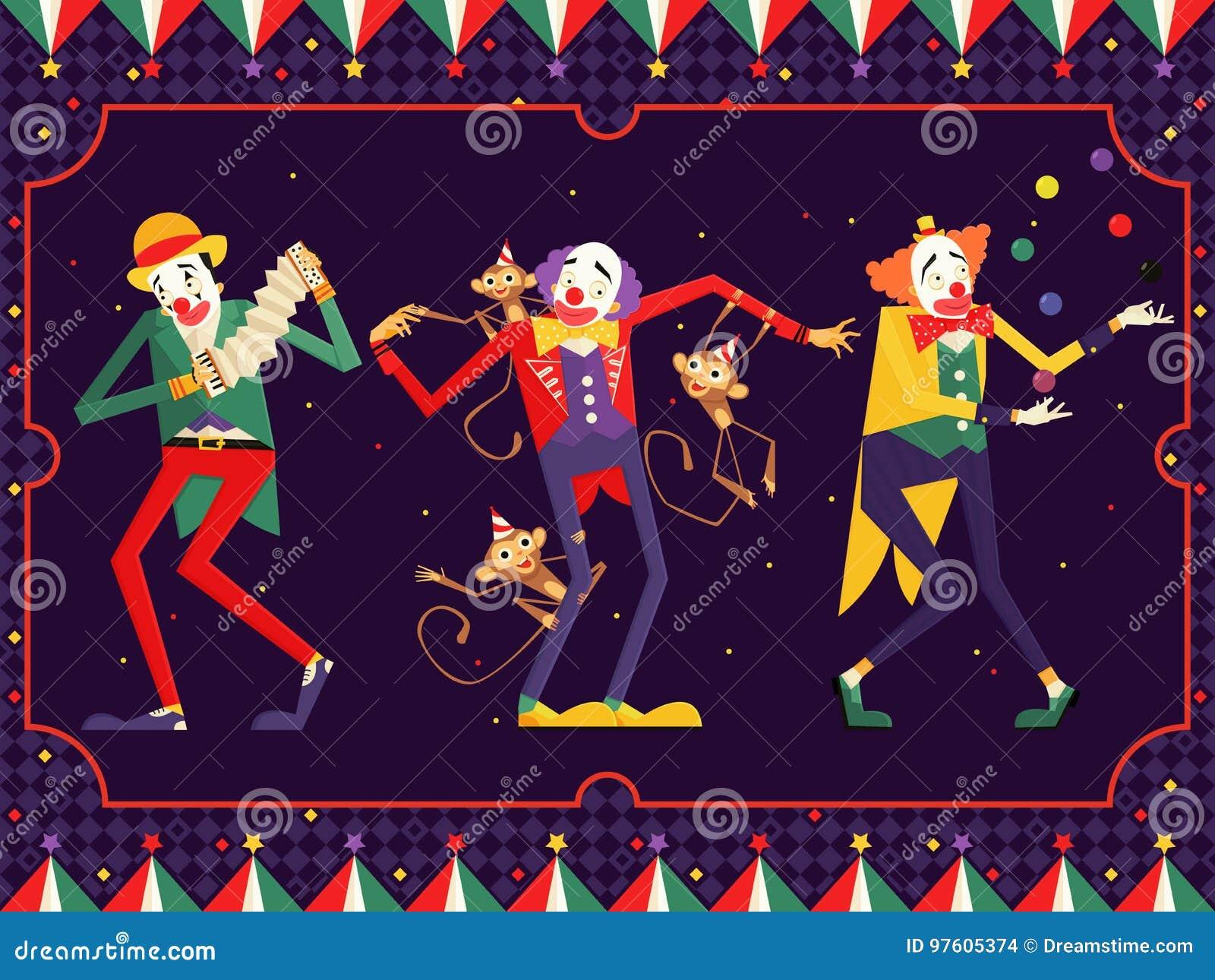 De clownkarakter van het beeldverhaalcircus Illustratie