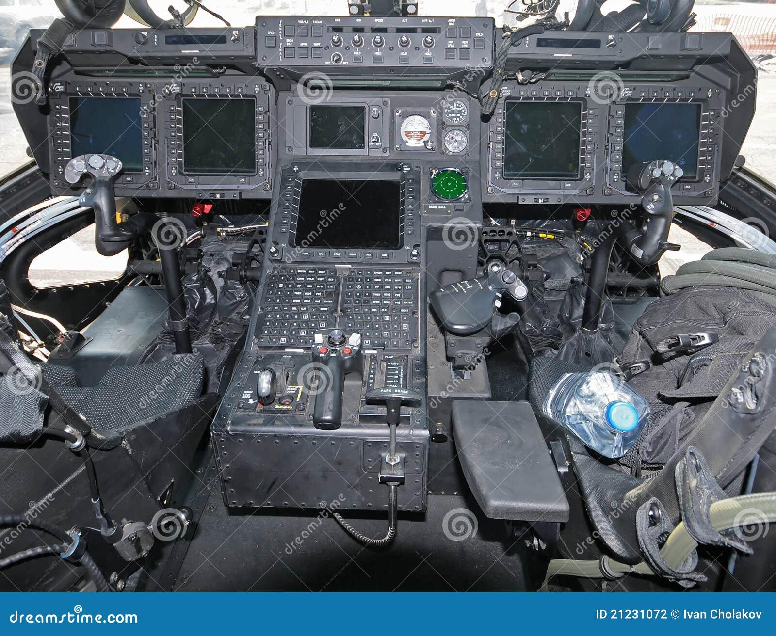 De cockpit van de helikopter