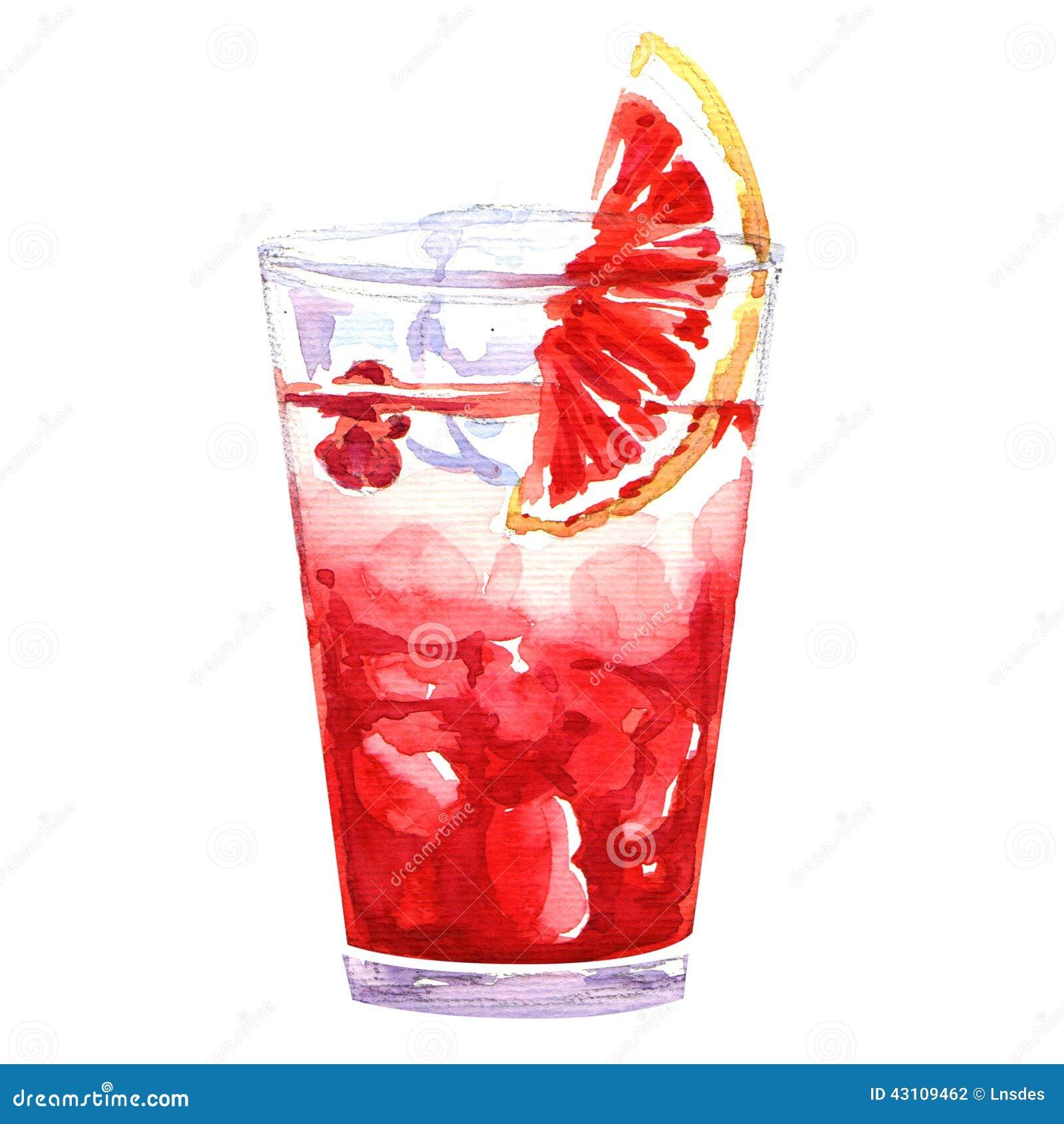 De cocktailglas van de waterverf koud stempel