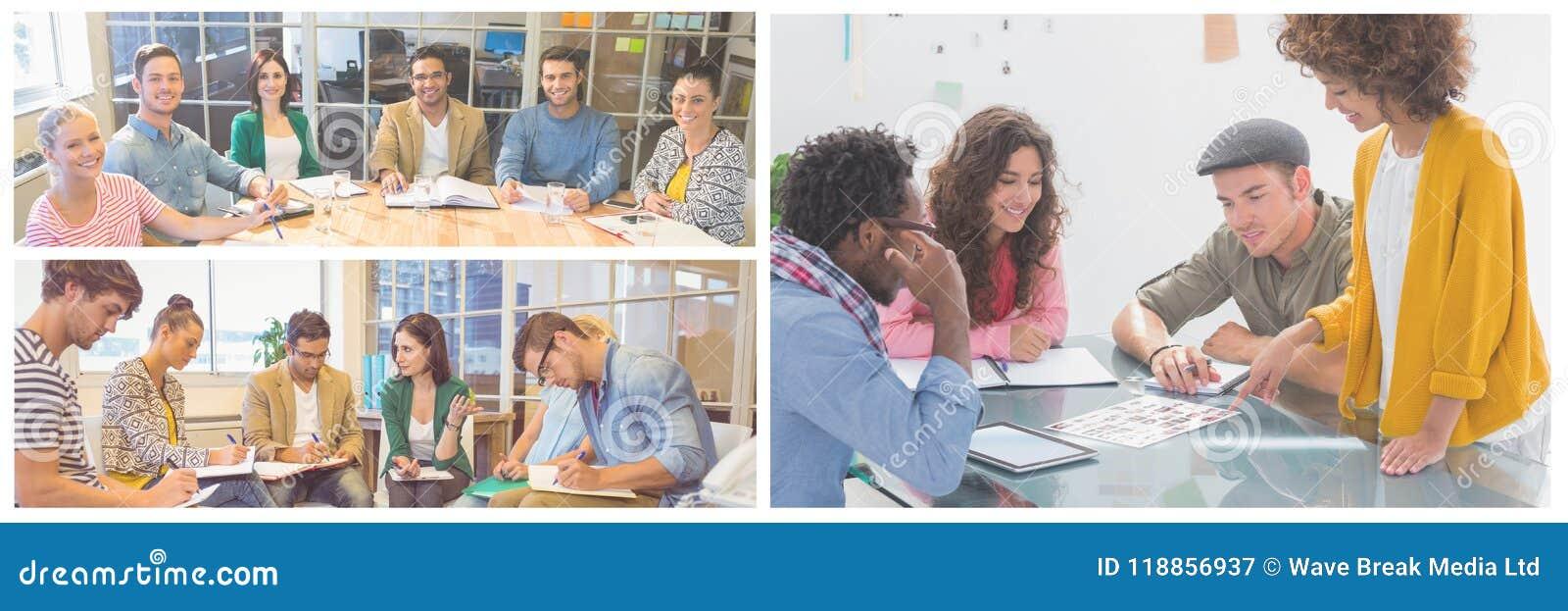 De collage van de groepswerkvergadering