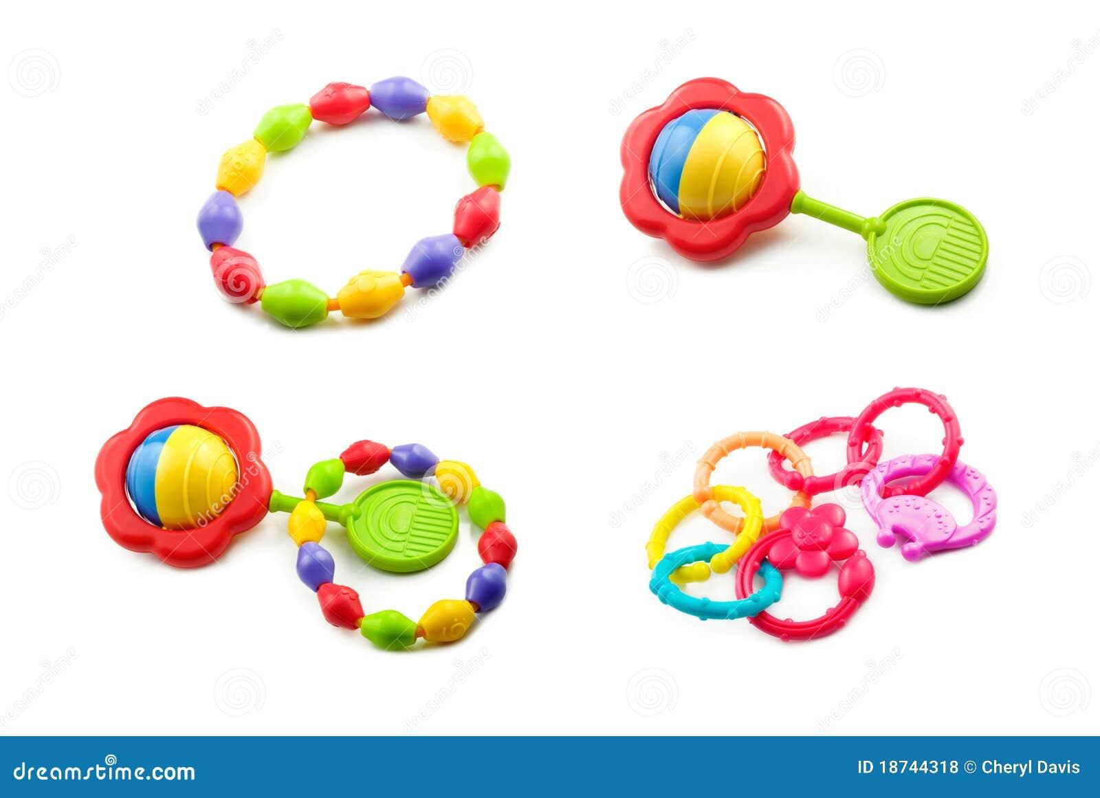 De Collage van het Stuk speelgoed van de baby op Witte Achtergrond