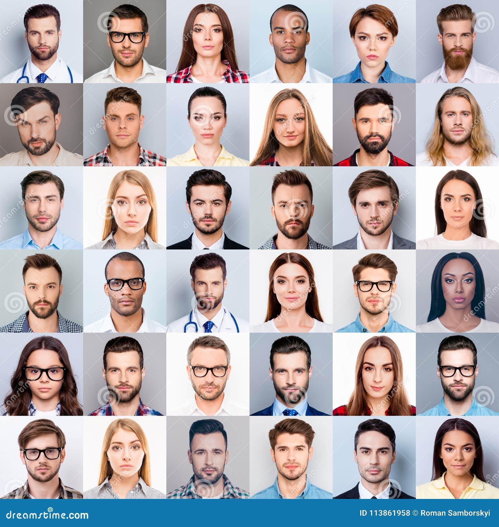 De collage van vele divers, multi-etnisch vrij knappe mensen` s dichte omhooggaande hoofden die, mooi, aantrekkelijk, concentreer