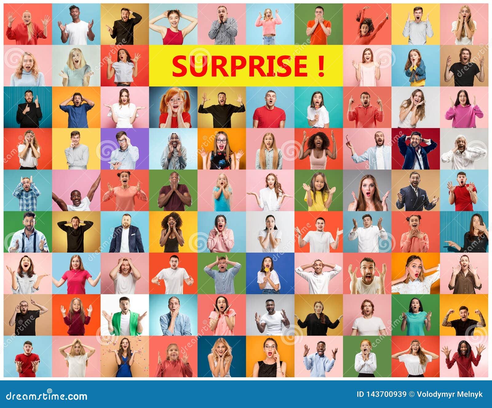 De collage van verraste mensen