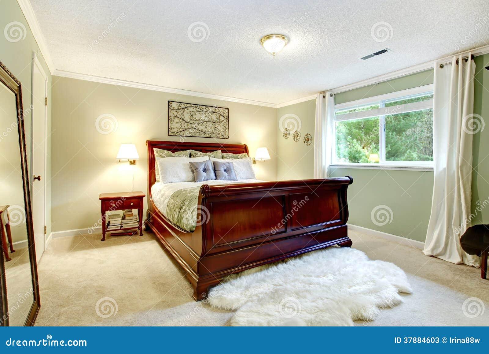 De comfortabele verfrissende slaapkamer van de muntkleur