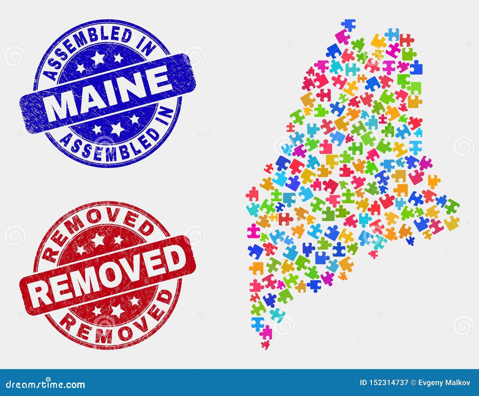 De component Maine State Map en de Nood assembleerden en verwijderden Zegels