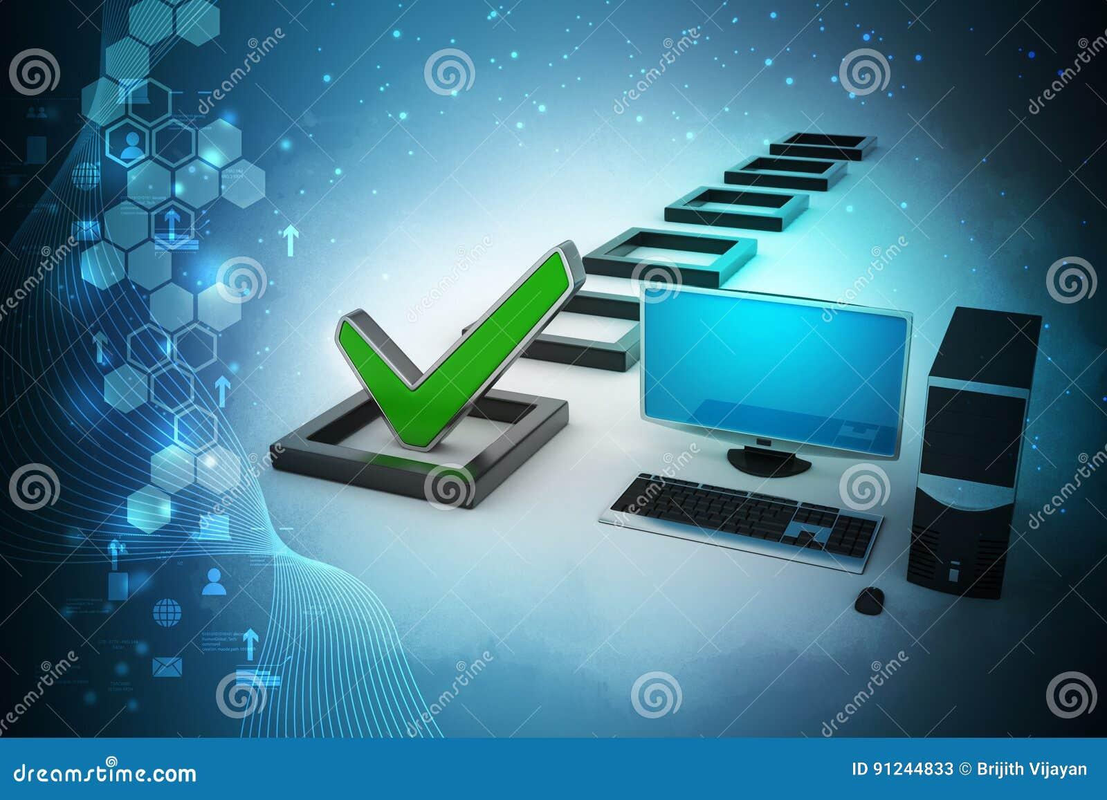 De computadora personal con la marca de verificación y la columna