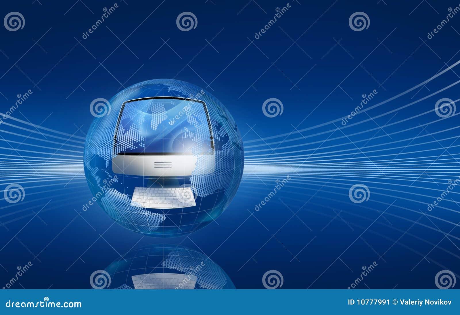 De computer in de bol op donkerblauw