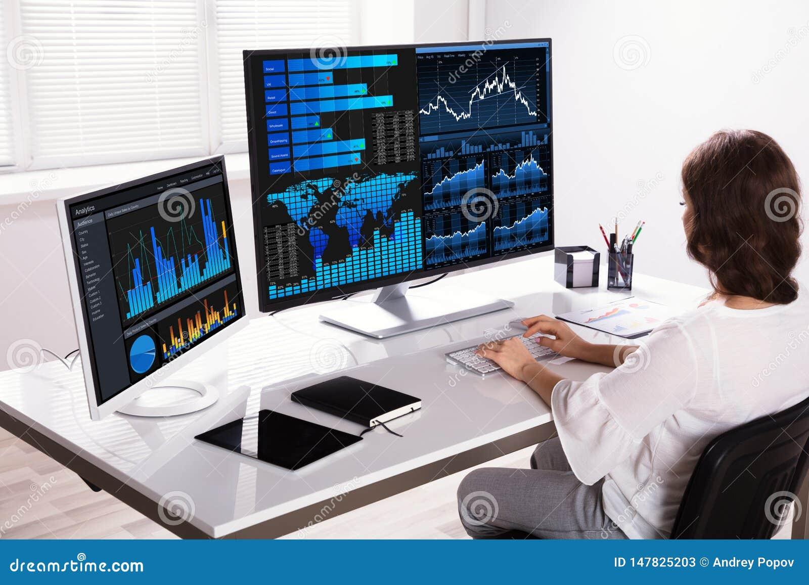De Computer van Analyzing Graphs On van de Effectenbeursmakelaar