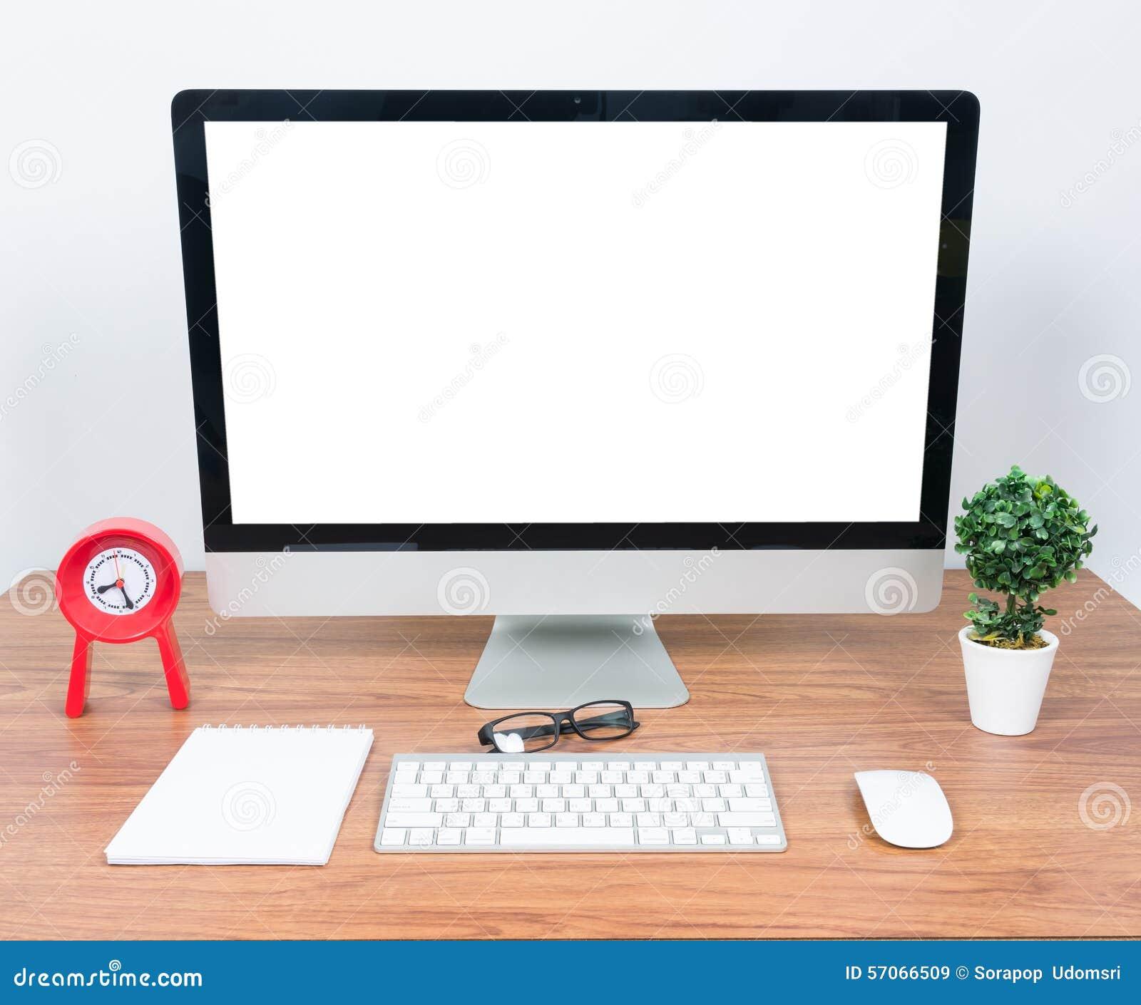 De computer van de bureaumonitor, muis op houten lijst