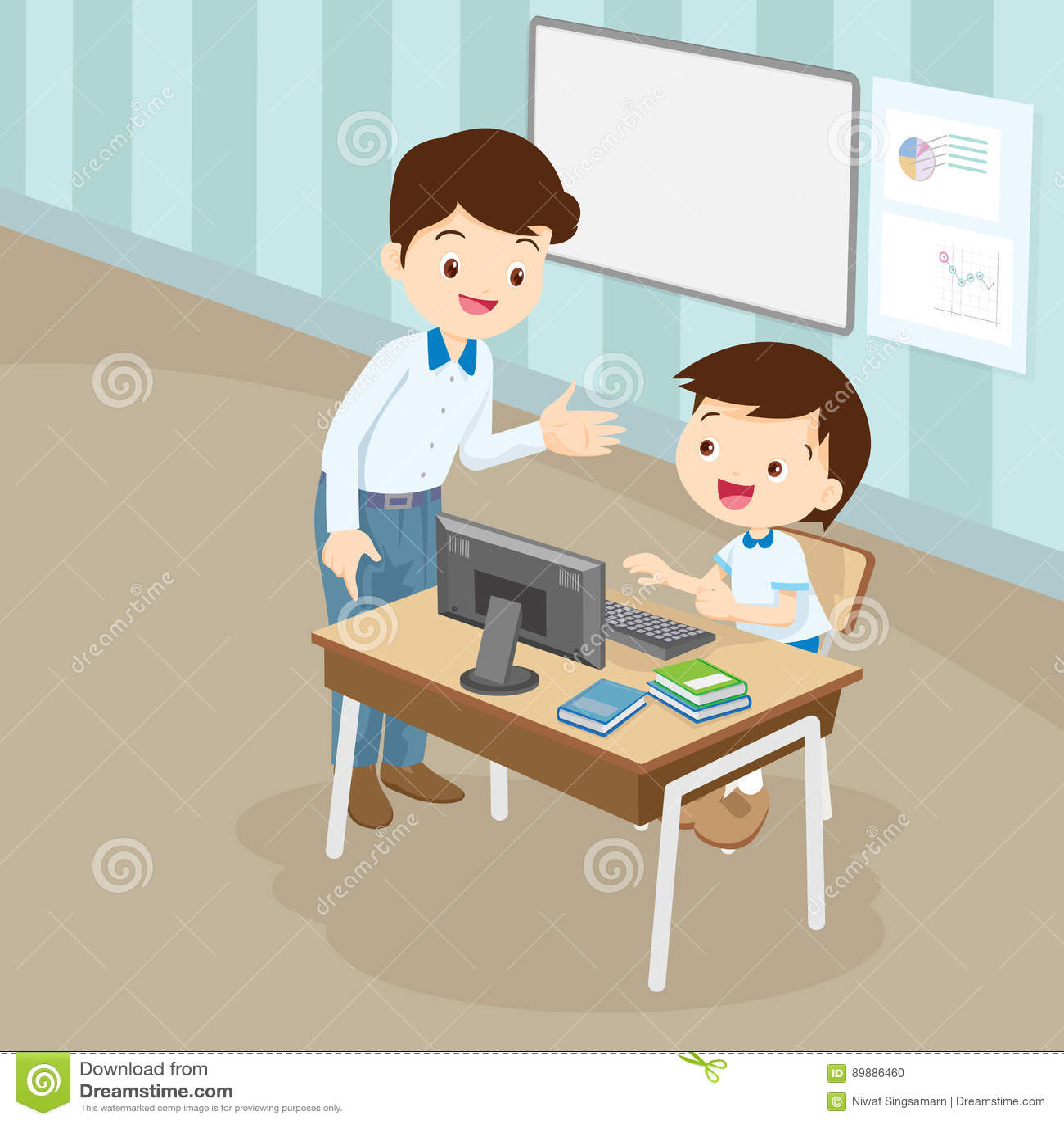 De computer van het leraarsonderwijs aan studentenjongen