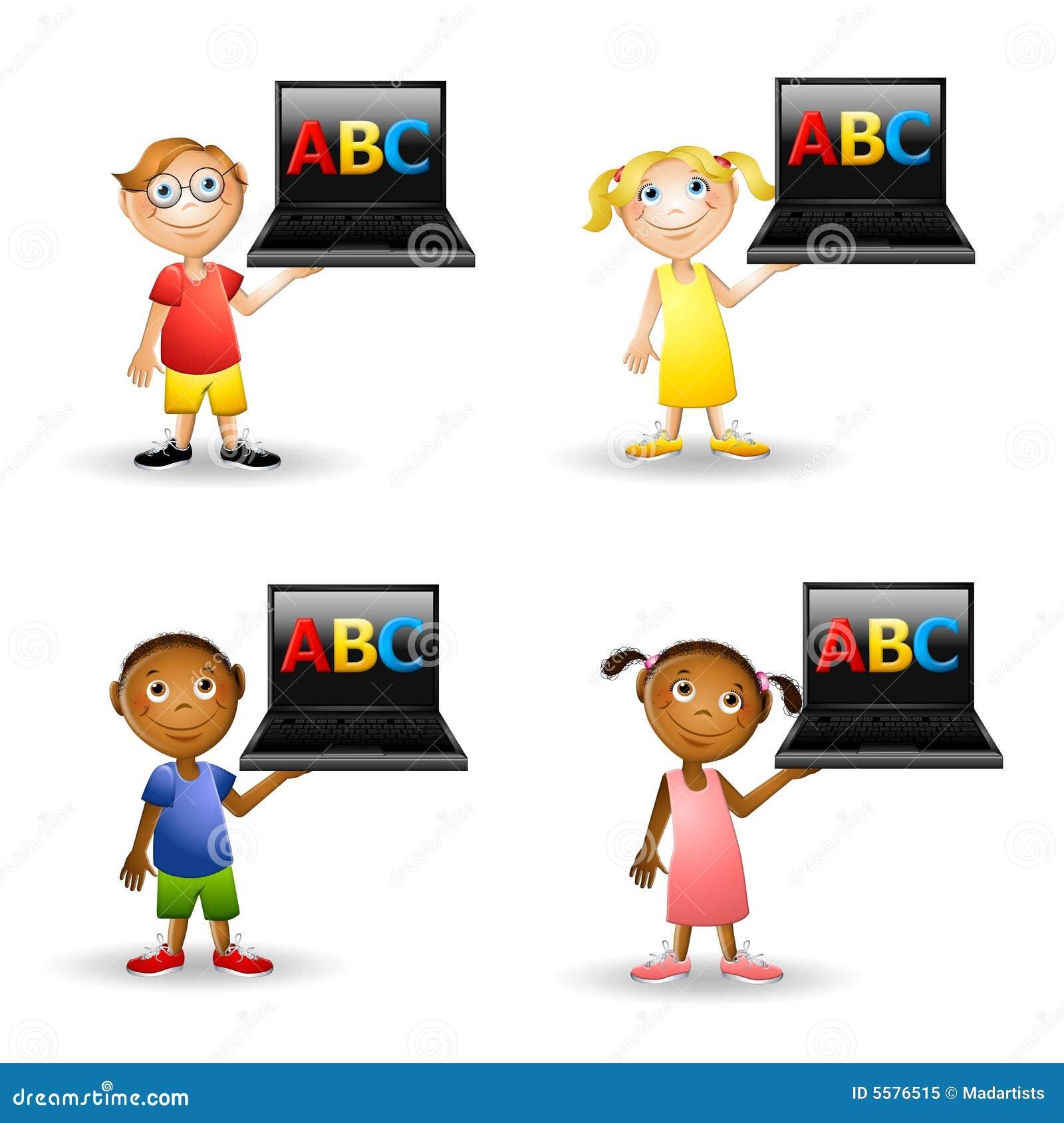 De Computers van de Holding ABC van jonge geitjes