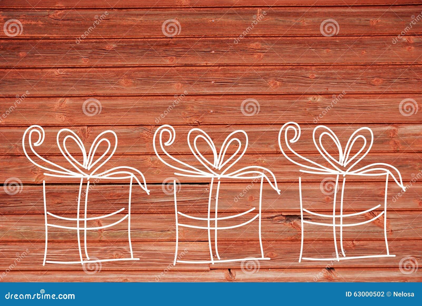 De conceptenillustratie van drie giften kopieert ruimte houten achtergrond stock illustratie - Ruimte model kamer houten ...