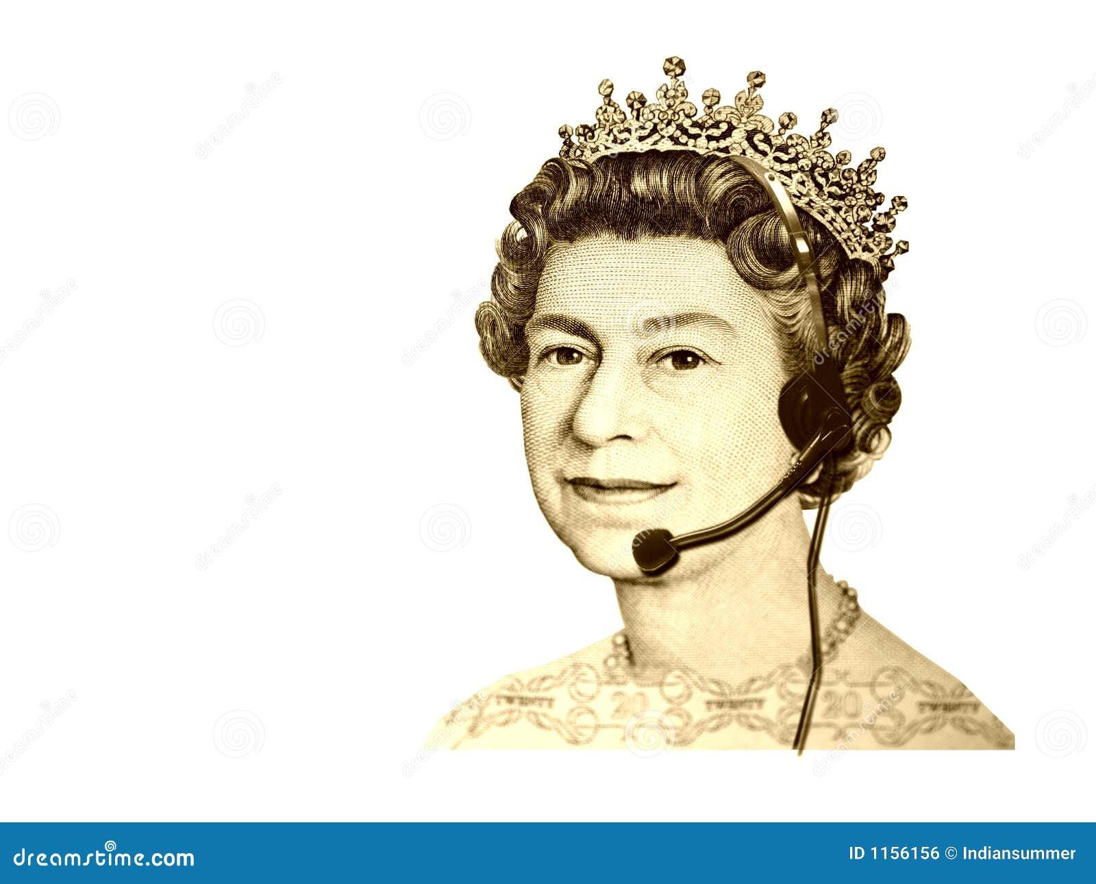 De conceptuele commerciële/klantendienst. Het hoofd van de muntKoningin van Engeland, met hoofdtelefoon