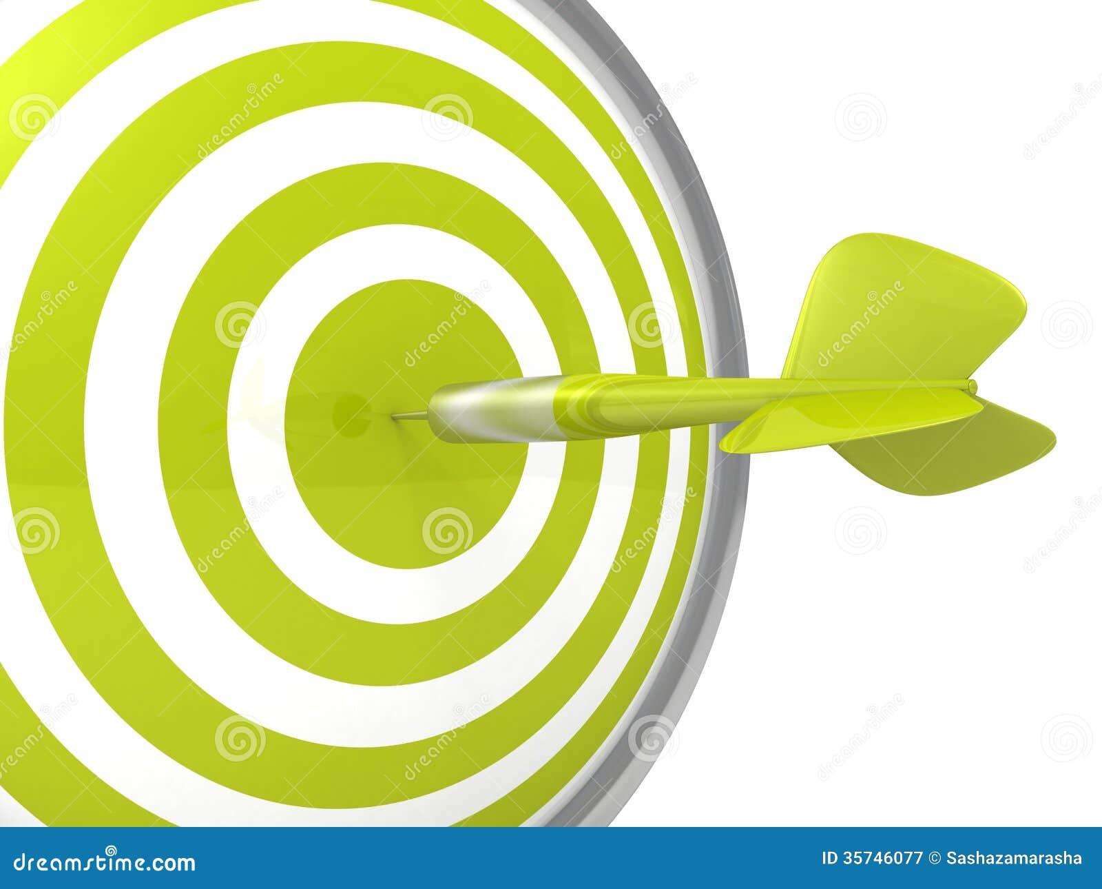 De conceptuele groene raad van het pijltjedoel met een pijl in centrum