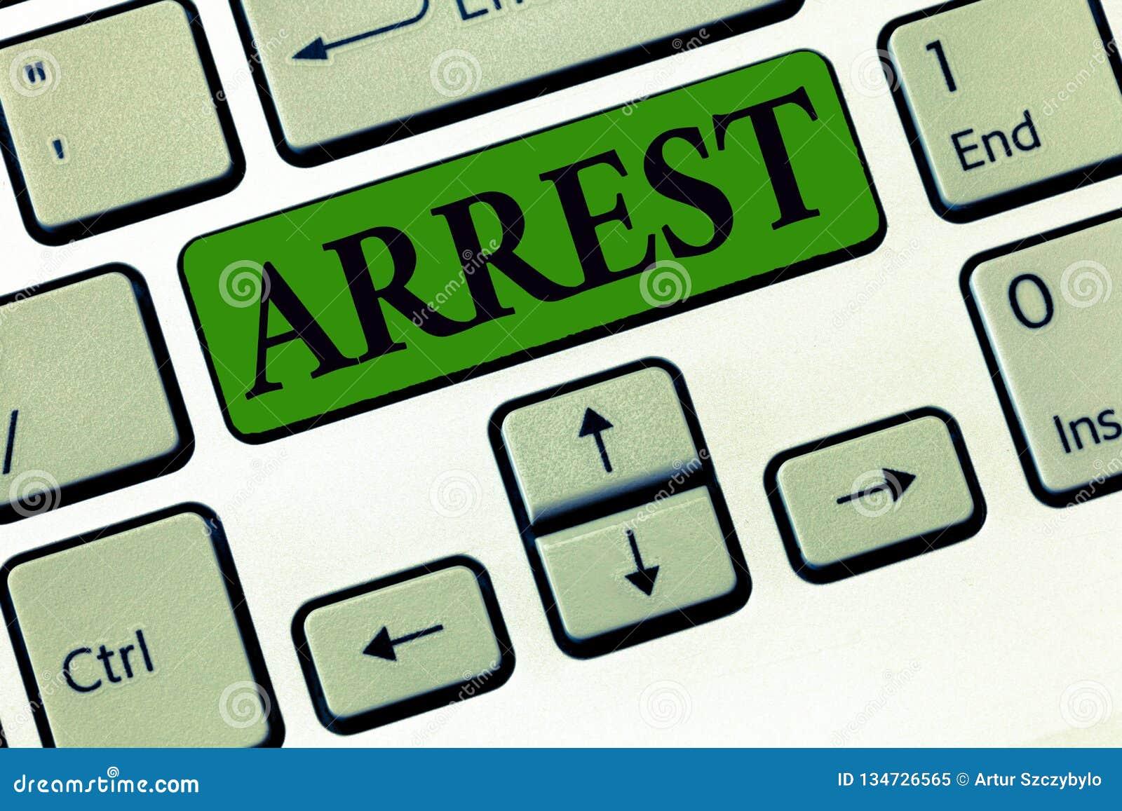 De conceptuele hand die tonend Arrestatie Bedrijfsfoto demonstratie grijpt iemand door wettelijke bevoegdheid en neemt hen in sch