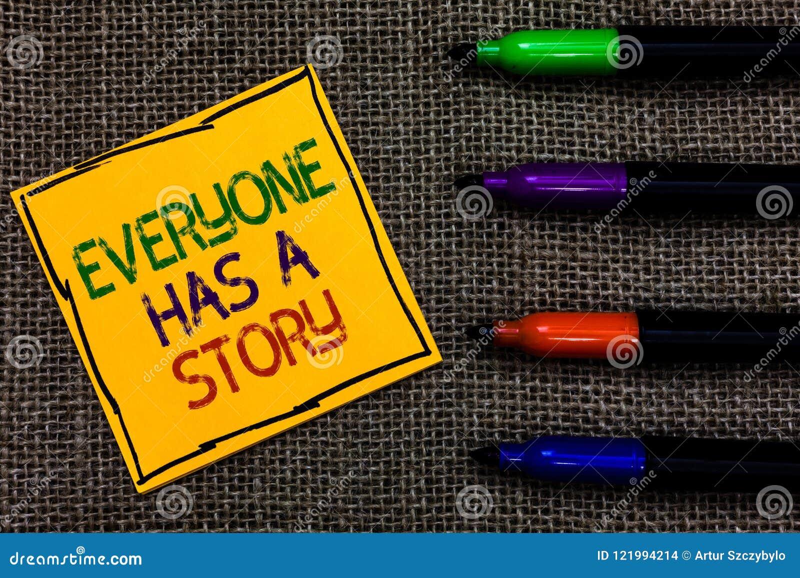De conceptuele hand die tonend iedereen heeft een Verhaal schrijven De Achtergrond die van de bedrijfsfototekst vertellend uw Bev