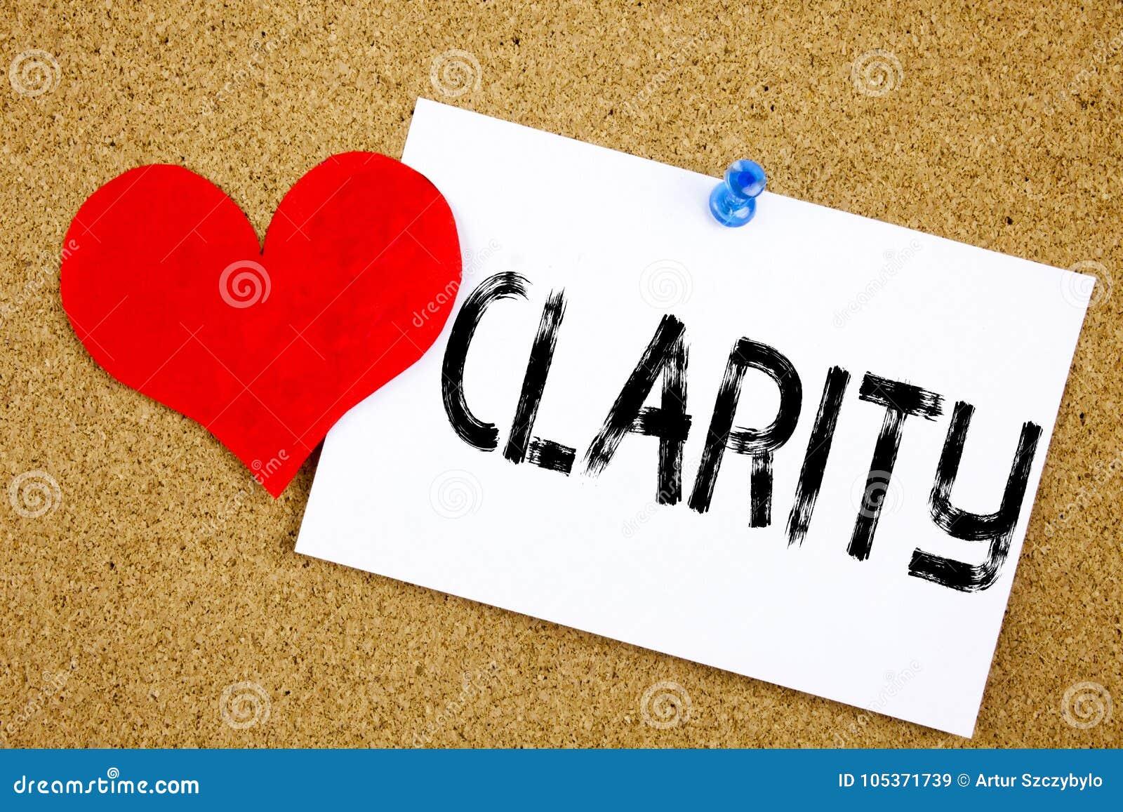 De conceptuele hand het schrijven inspiratie van de teksttitel het Bericht van het Duidelijkheidsconcept voor de duidelijkheid to
