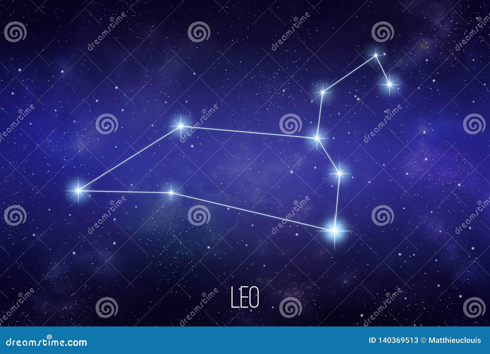 De constellatie van de Leeuwdierenriem Astronomie of astrologieillustratie