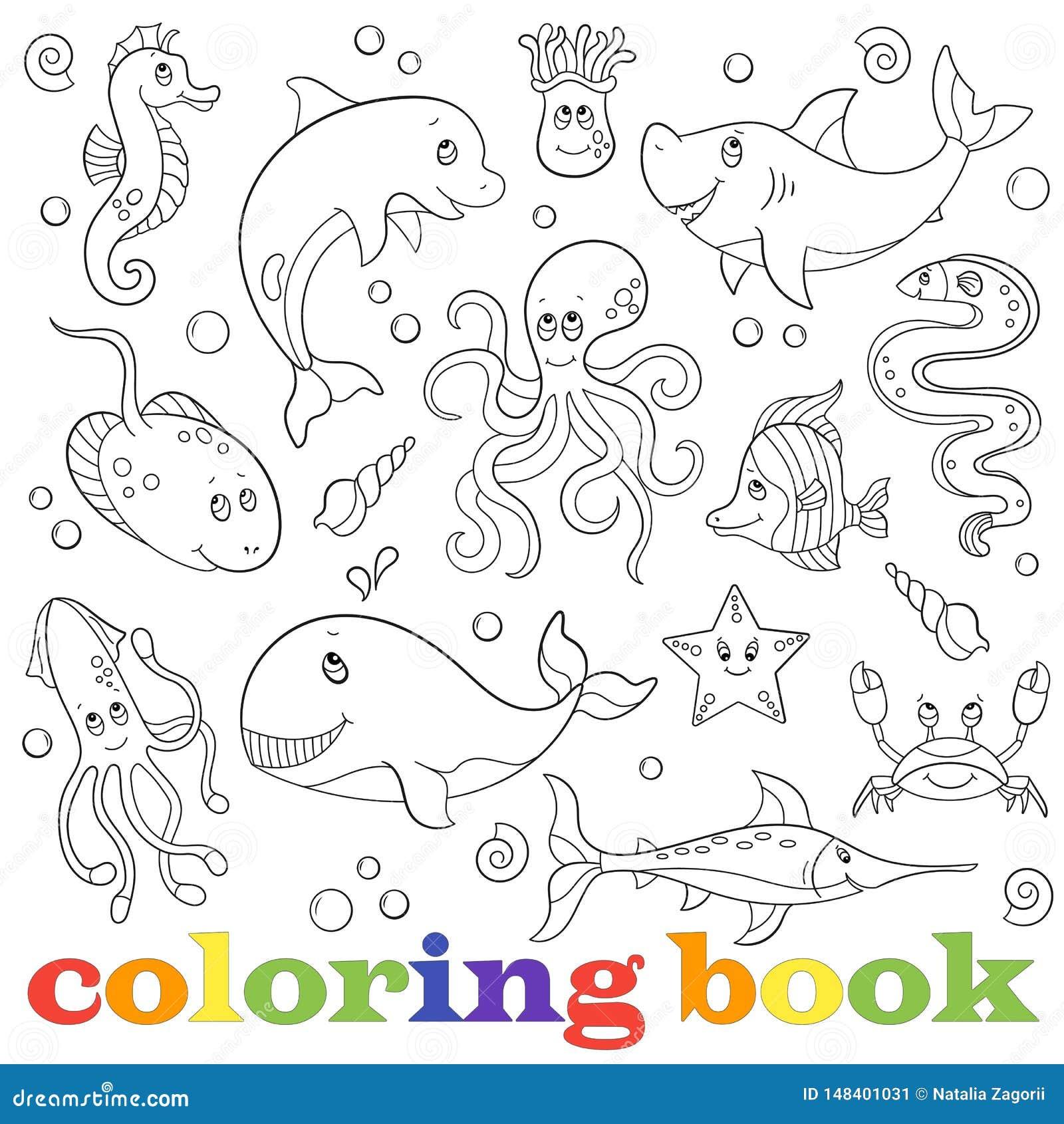 De contour plaatste met illustraties met het mariene leven, grappige beeldverhaaldieren op een blauwe achtergrond, die boek kleur