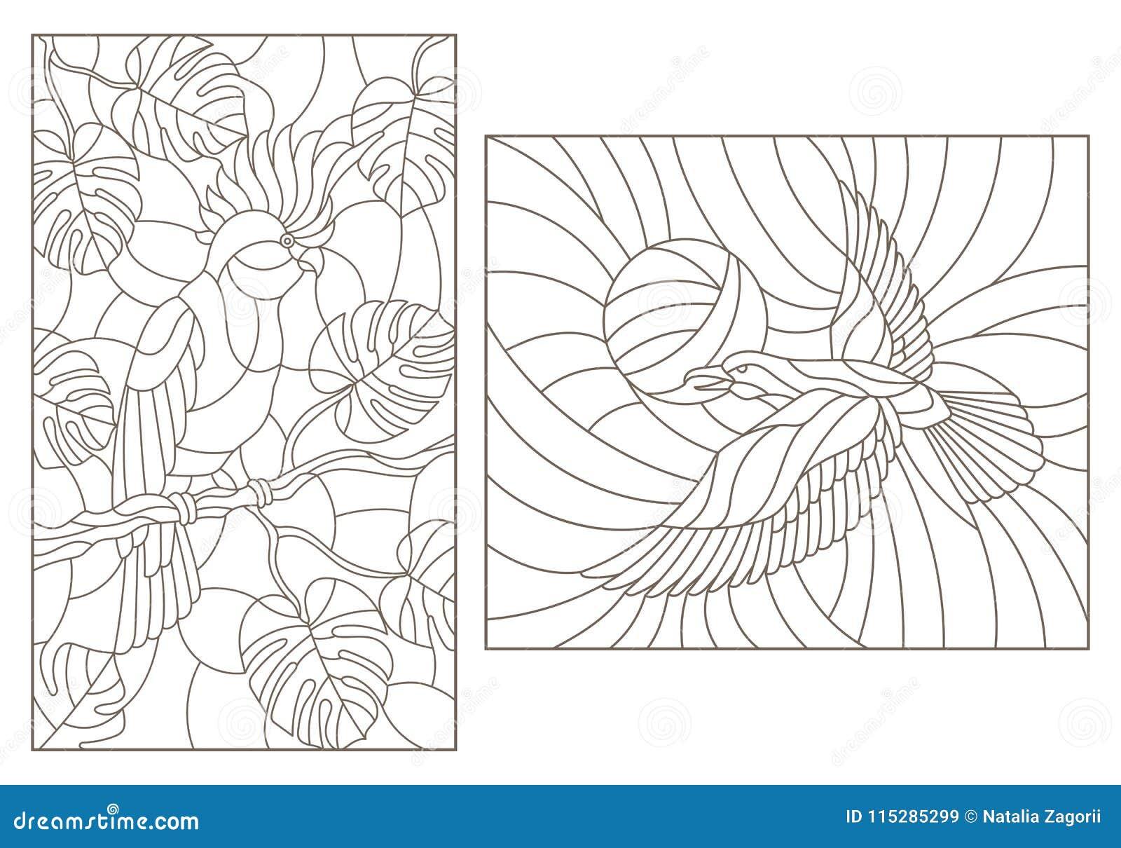 De contour plaatste met illustraties van gebrandschilderd glas met vogels, een papegaai op de takken van installaties en de kraai