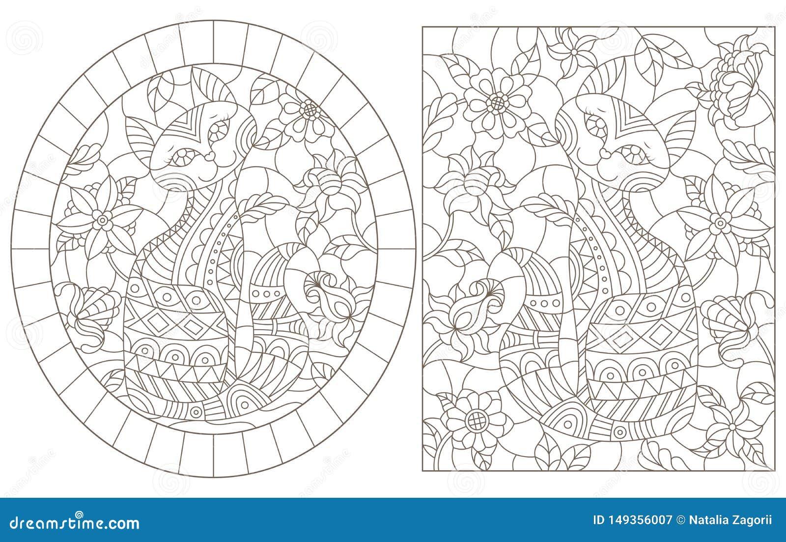 De contour plaatste met illustraties van gebrandschilderd glasvensters met katten op een achtergrond van kleuren, donkere contour