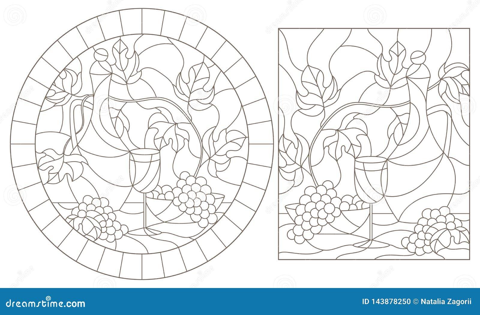 De contour plaatste met illustraties van gebrandschilderd glasvensters met nog lifes, kruik en fruit, donkere contouren op een wi