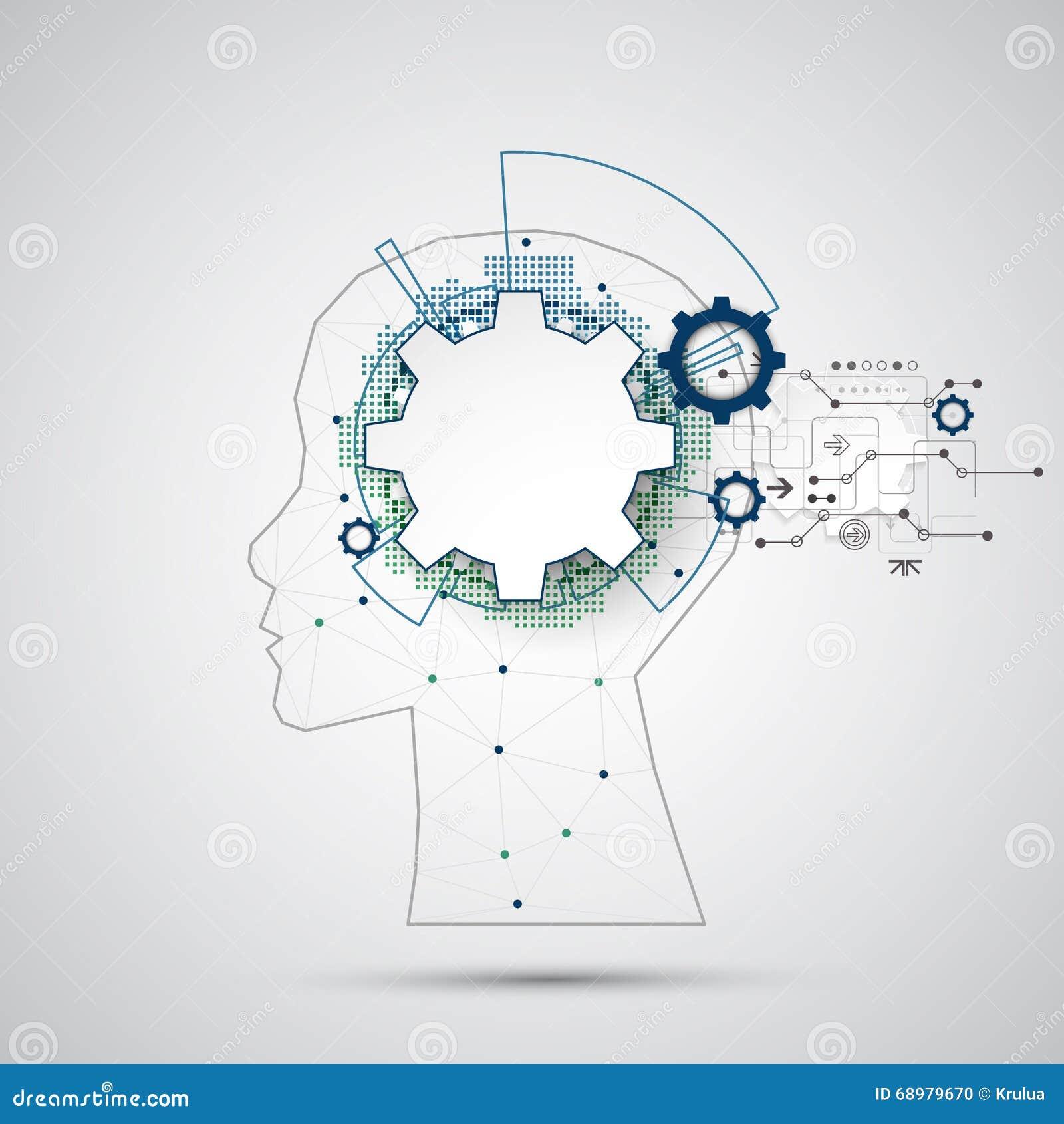 De creatieve achtergrond van het hersenenconcept met driehoekig net Artifici