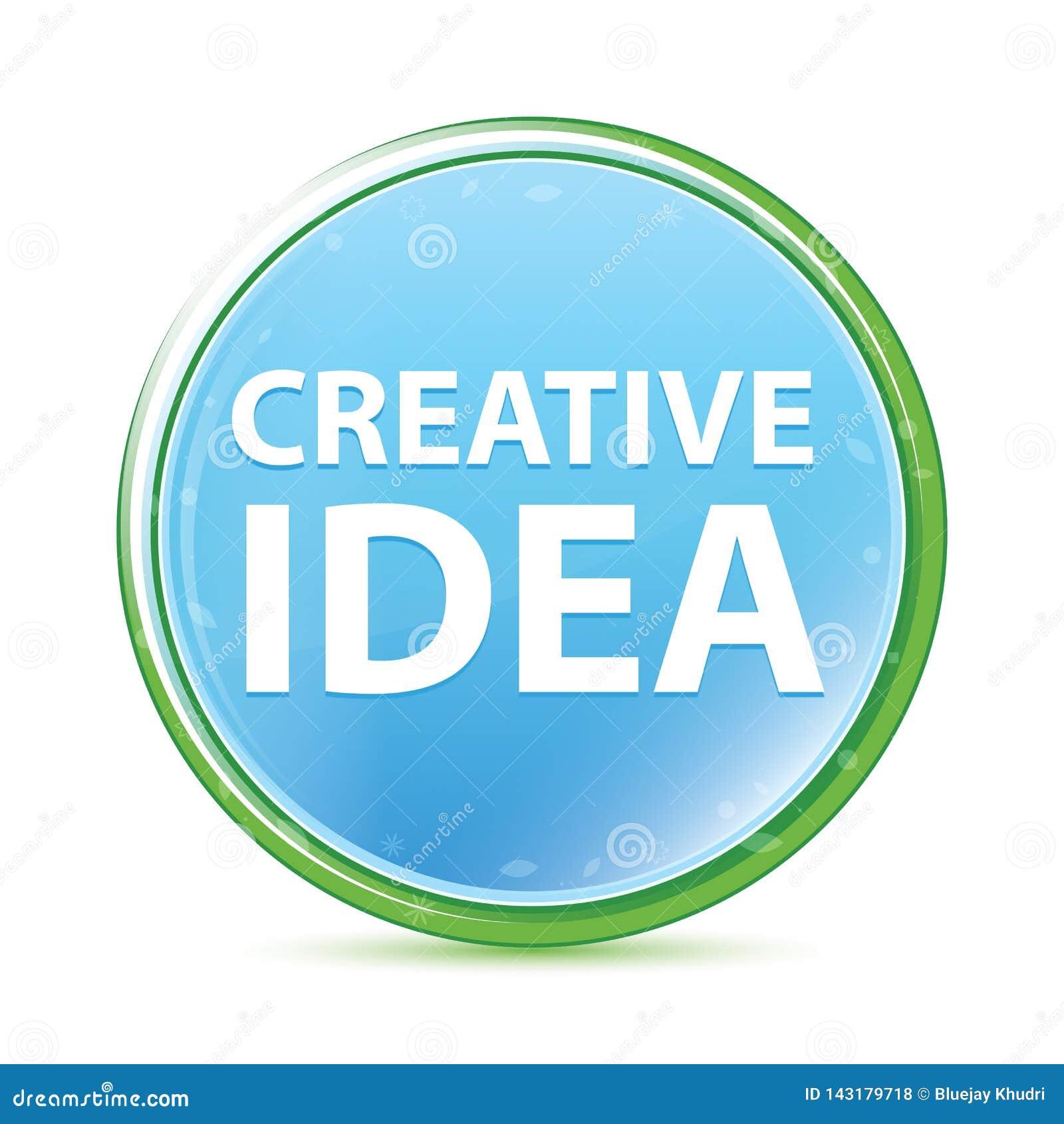 De creatieve cyaan blauwe ronde knoop van Idee natuurlijke aqua