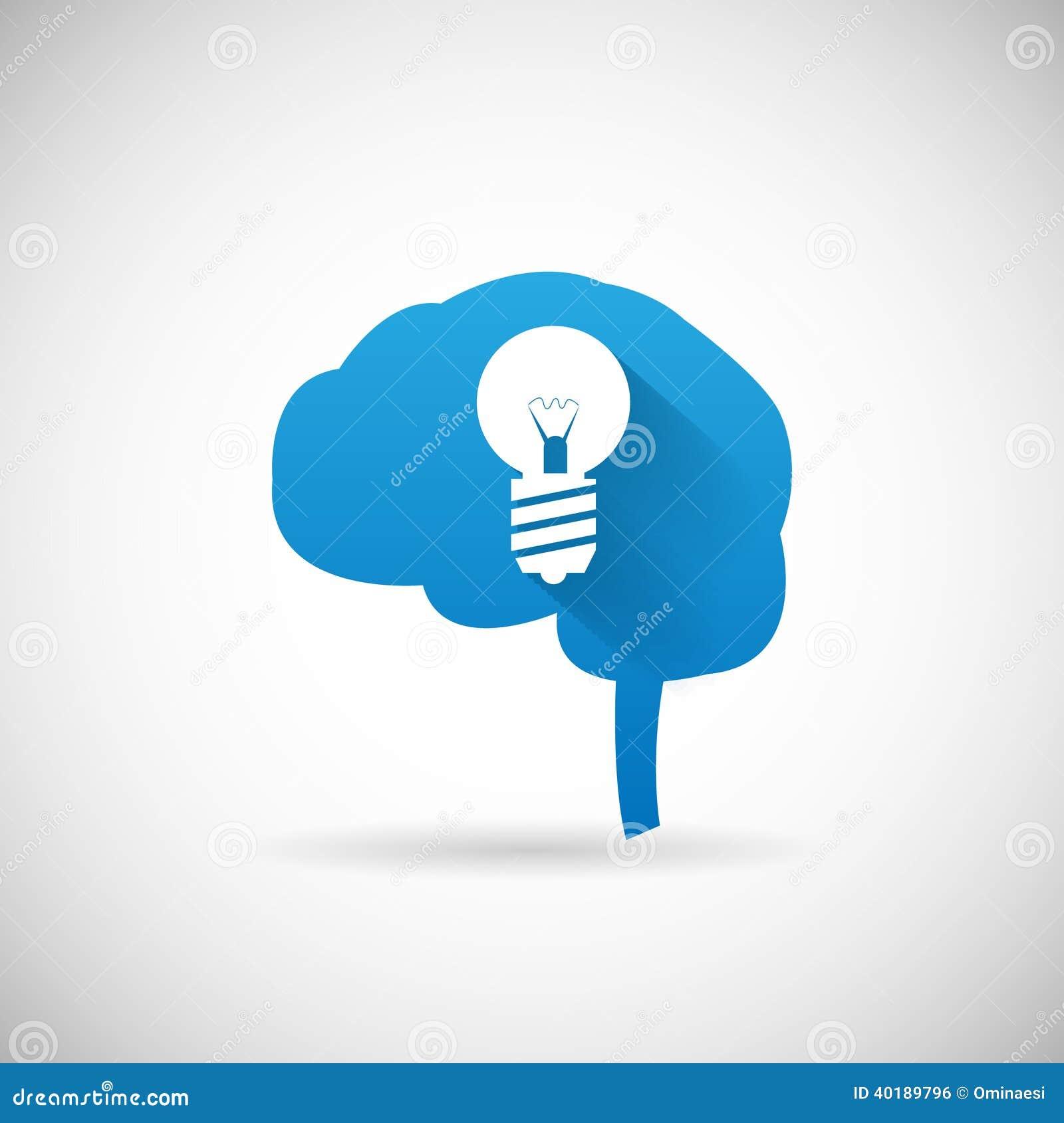 De creatieve Hersenen van het Ideesymbool en lightbulb van het het Ontwerpmalplaatje van het Silhouetpictogram de Vectorillustrati