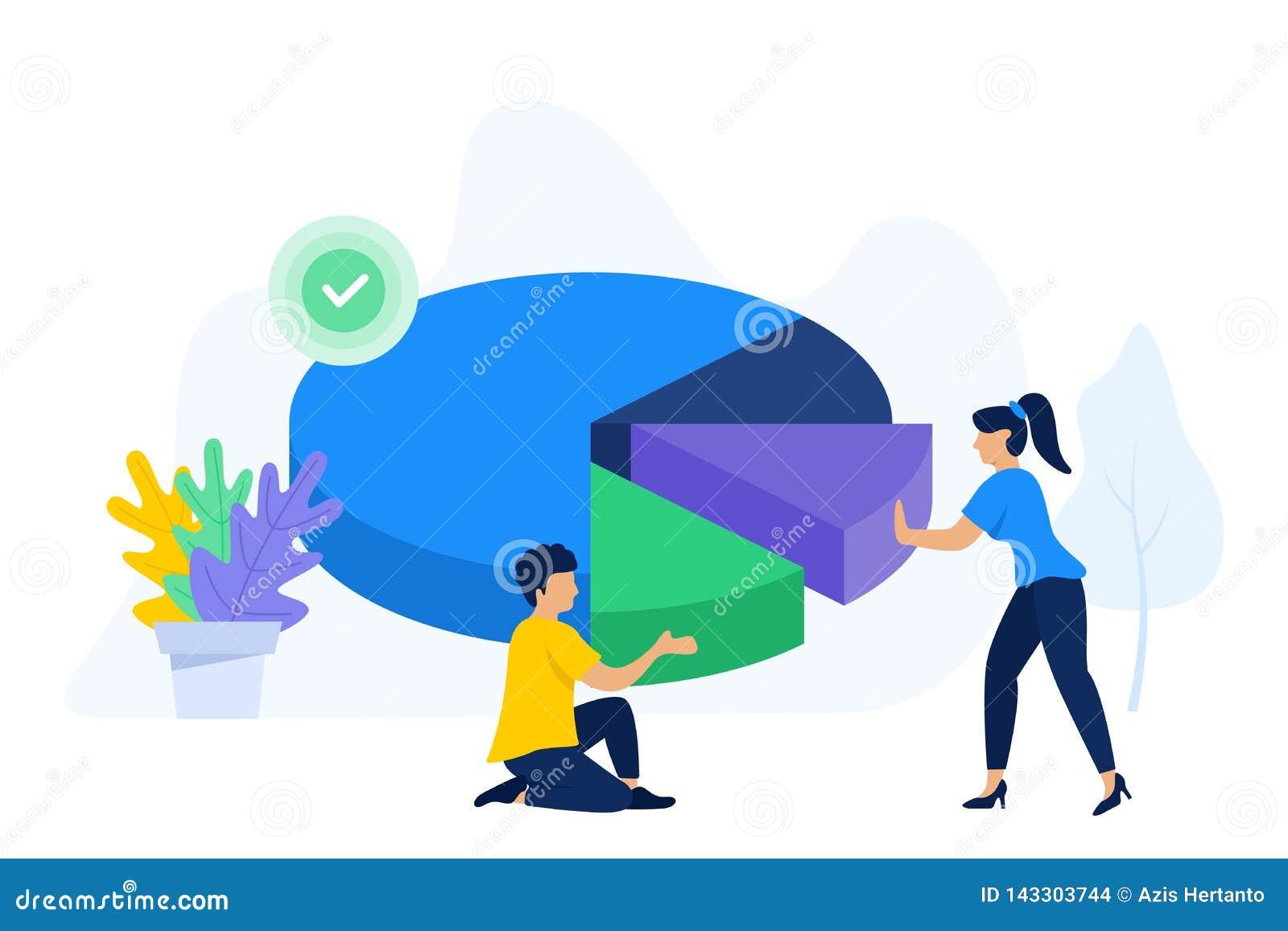 De creatieve mensen werken samen om cirkeldiagram te organiseren