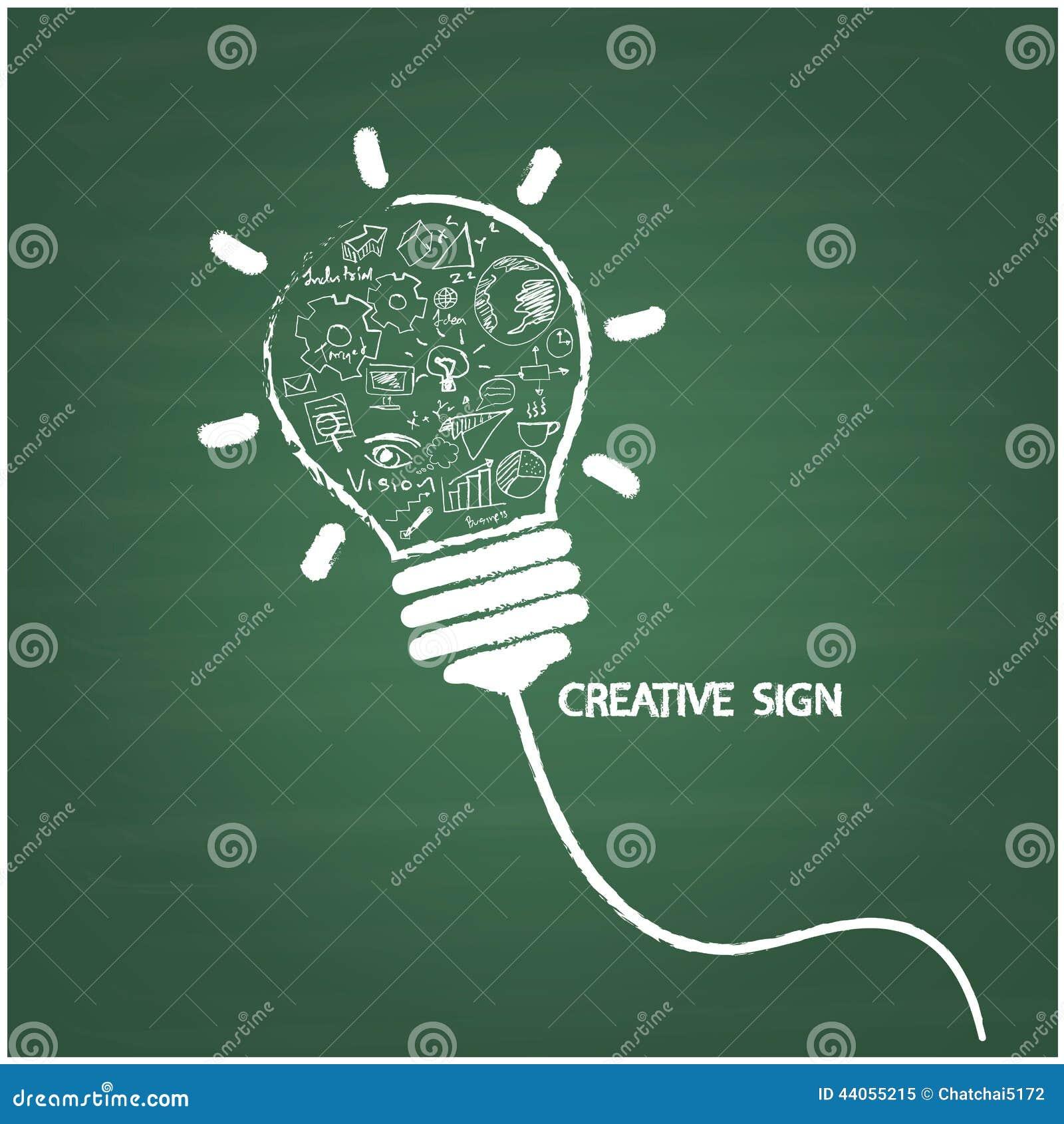 De creatieve stijl van het gloeilampenhandschrift op bord met zaken