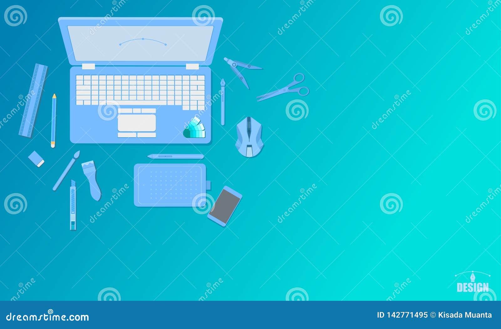 De creatieve van de de studio hoogste mening van het kunstontwerp van de het concepten blauwe toon vectorillustratie eps10
