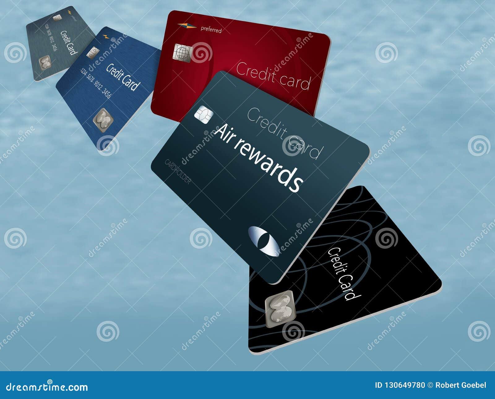 De creditcards van luchtbeloningen zijn het gezien hier drijven en het vliegen in Th