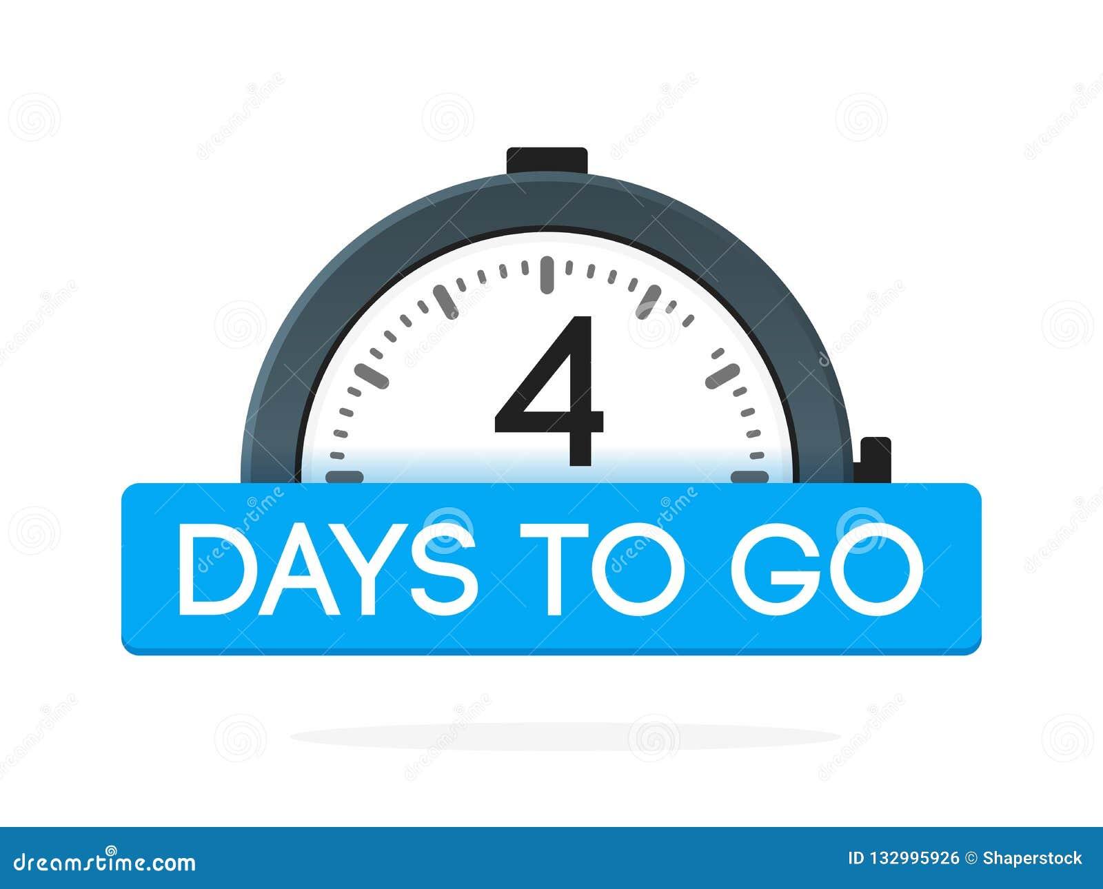 De cuatro días para ir etiqueta, plano del despertador con la cinta azul, icono de la promoción, el mejor illustretion del vector