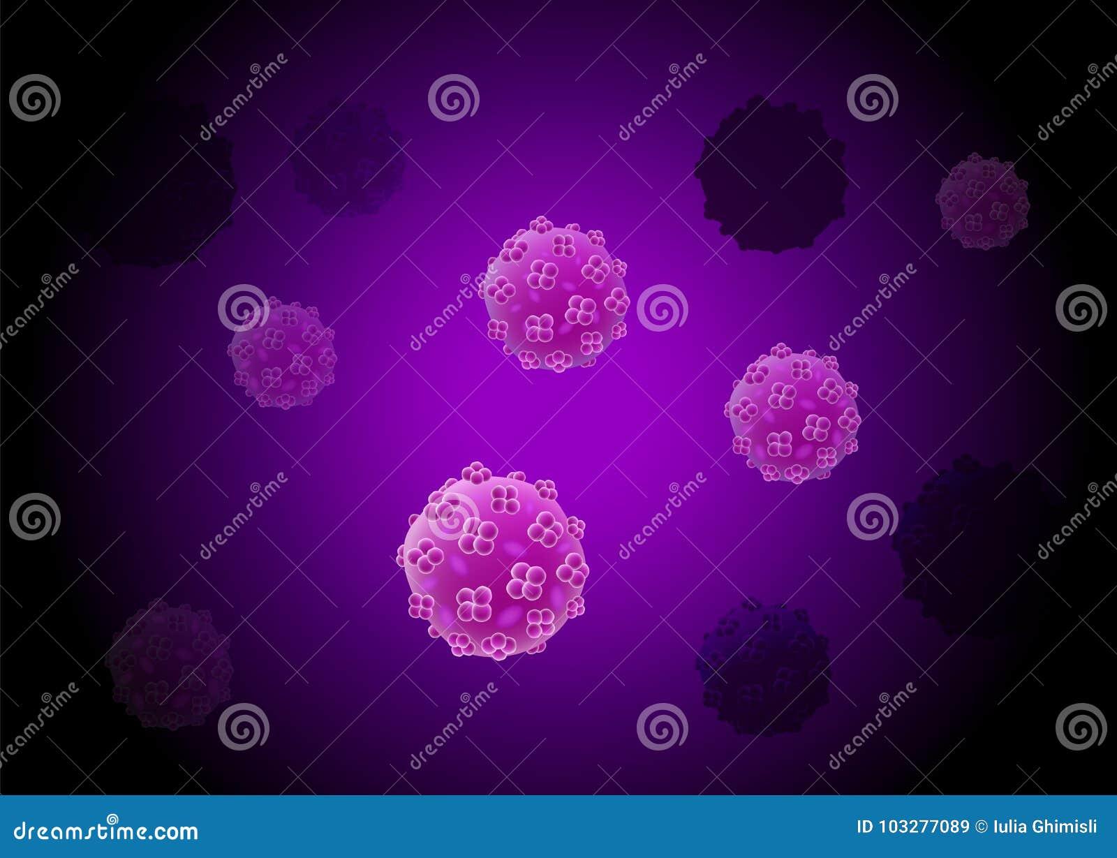 De cultuurachtergrond van het cellenvirus met celafdeling en kern