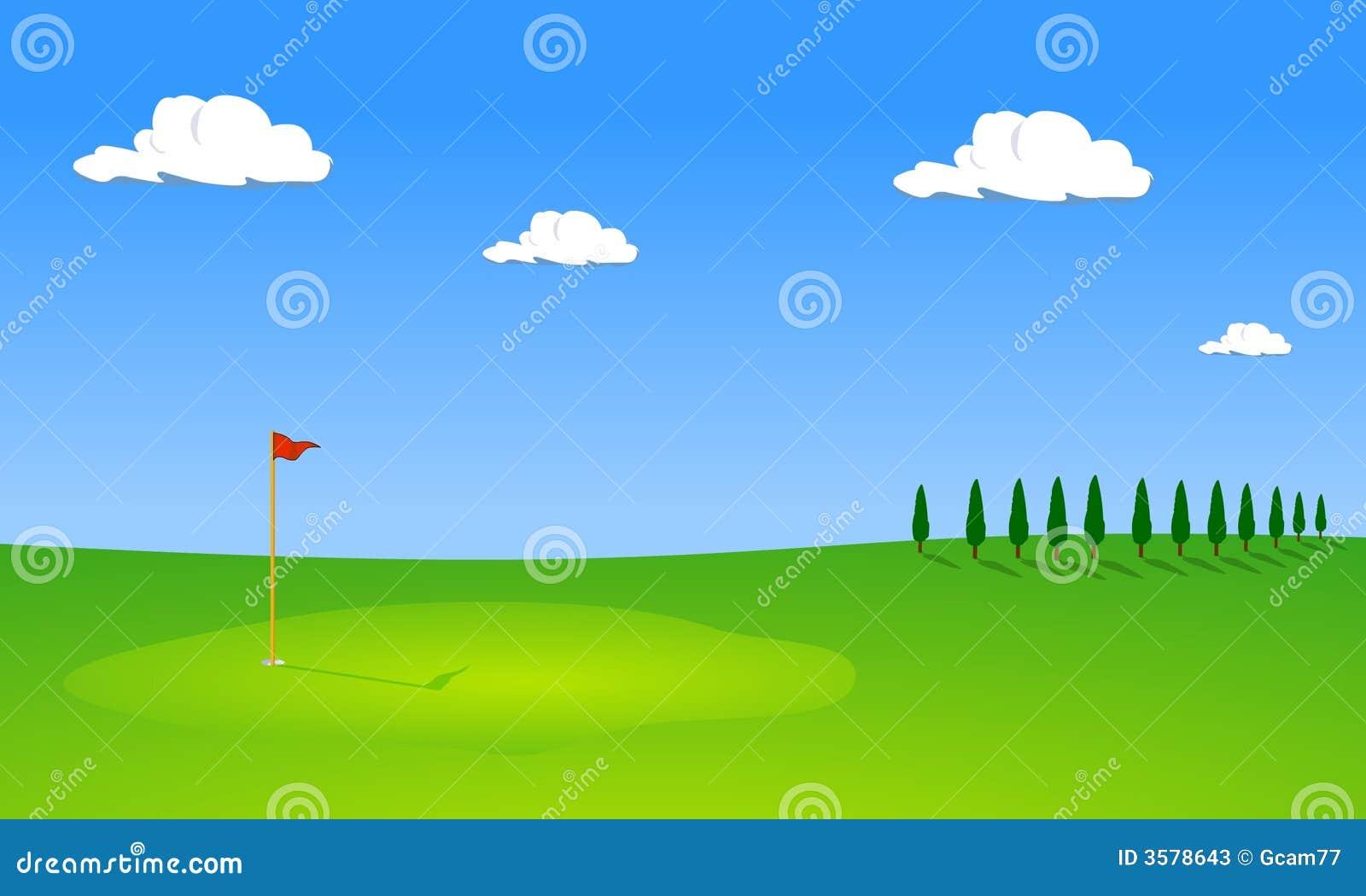 De cursus van het golf met bomen