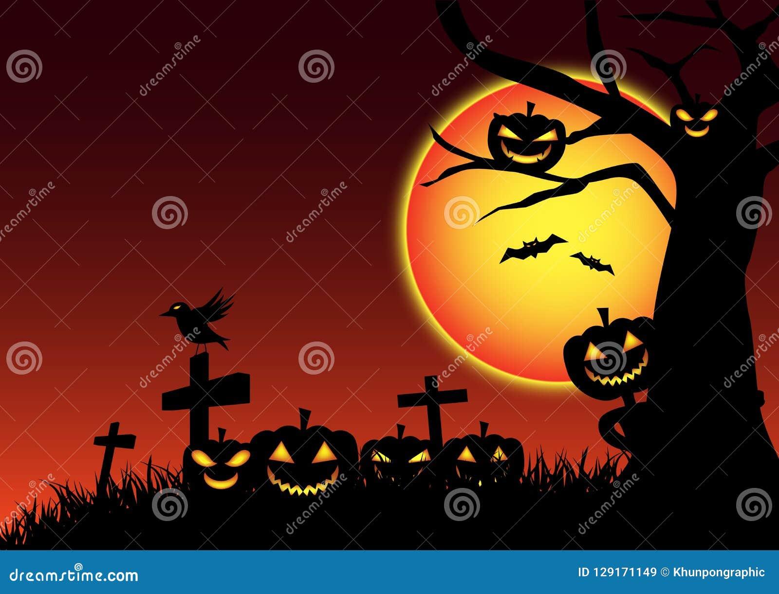 De dag feestelijke achtergrond van pompoenhalloween, het beeldverhaal van de spooknachtmerrie