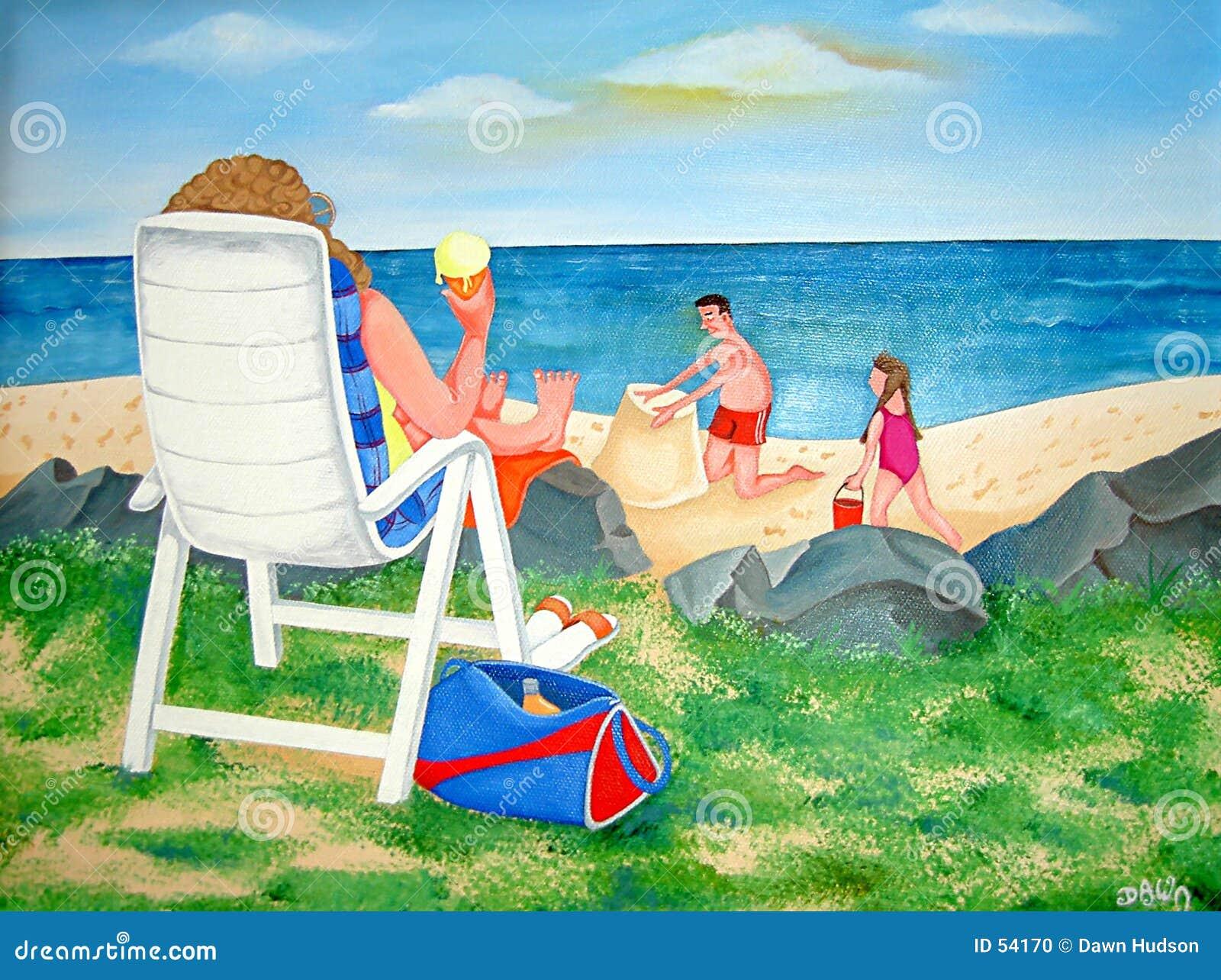 De Dag van de familie bij het Strand