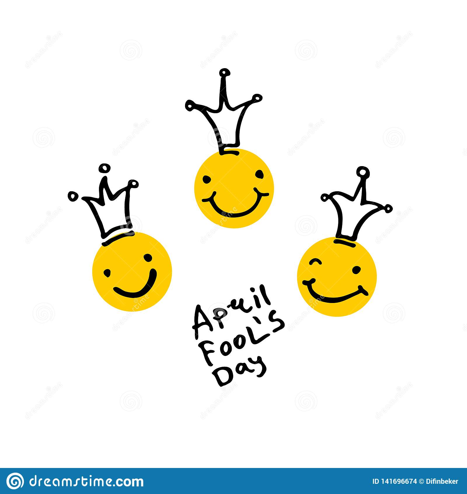 De dag van de dwazen van april 2019 Drie het lachen hoofden in kronen De stijl van het beeldverhaal