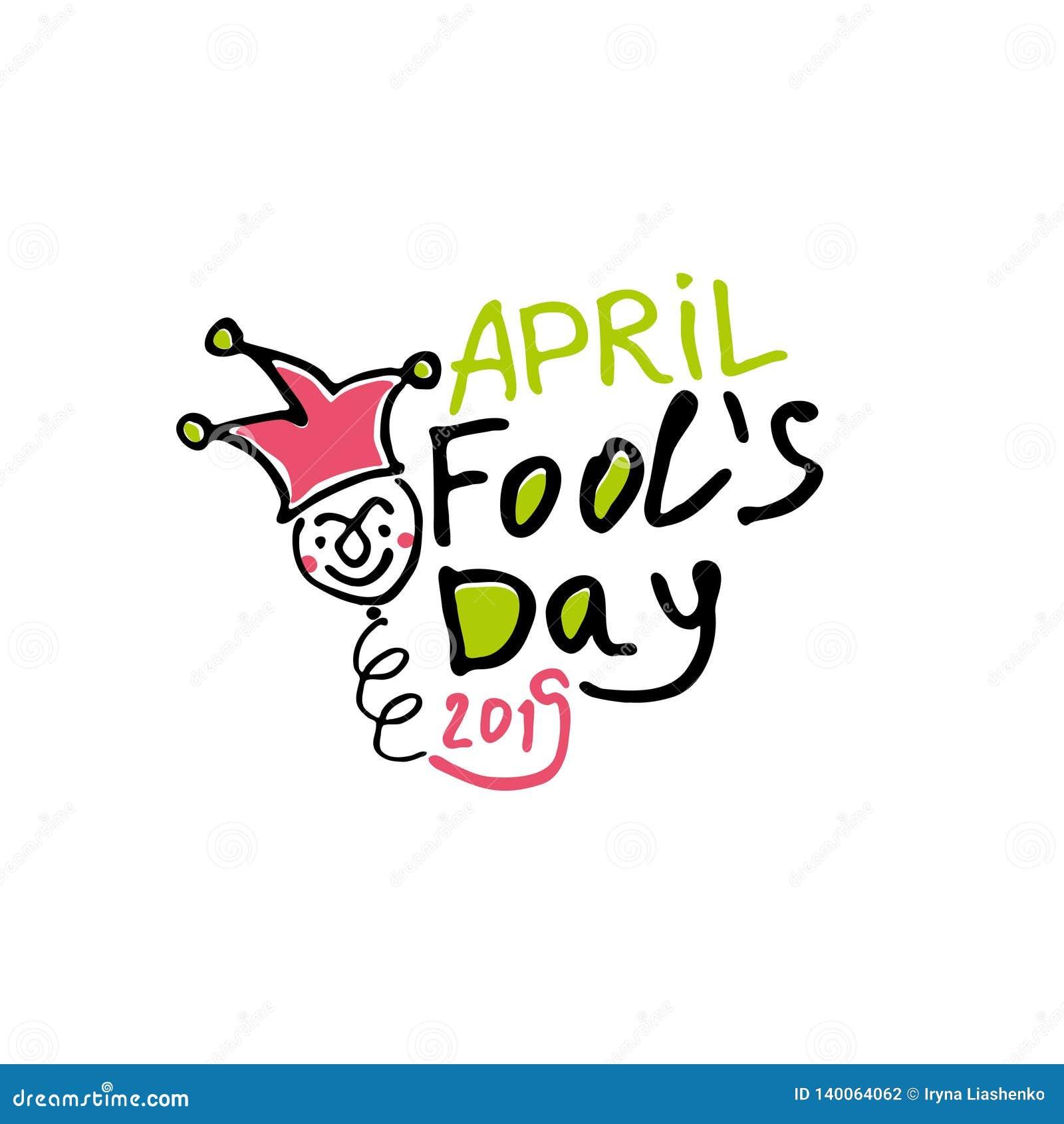 De dag van de dwazen van april De grafiekteller getrokken embleem van de beeldverhaalstijl met een nar op de lente