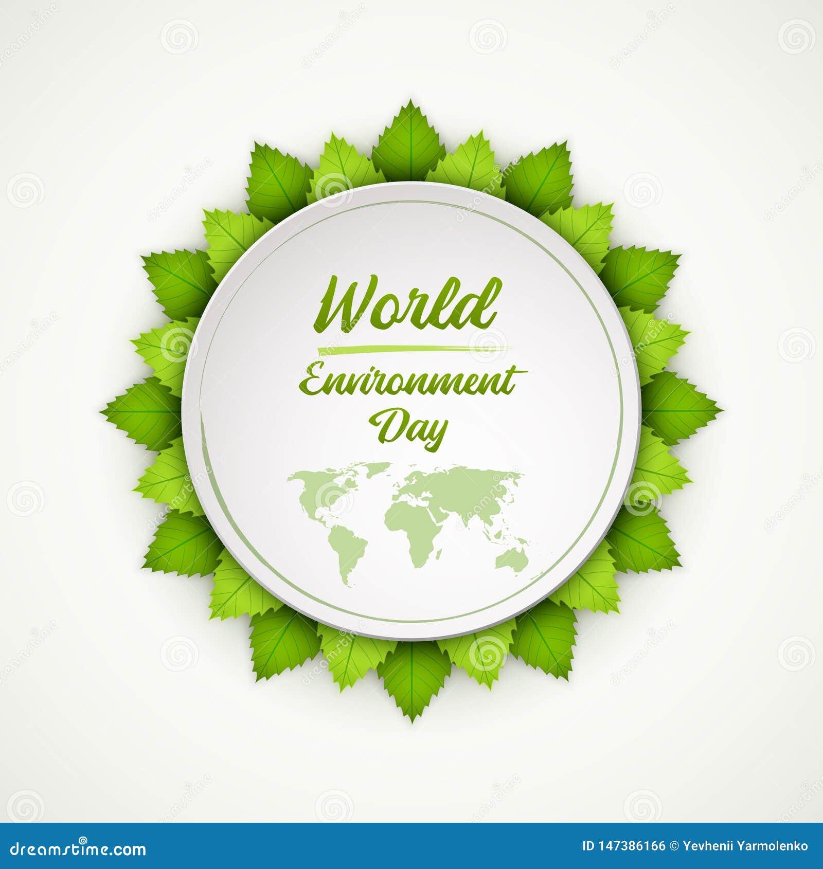 De Dag van het Milieu van de wereld Heldere verse groene bladeren Vector illustratie EPS10
