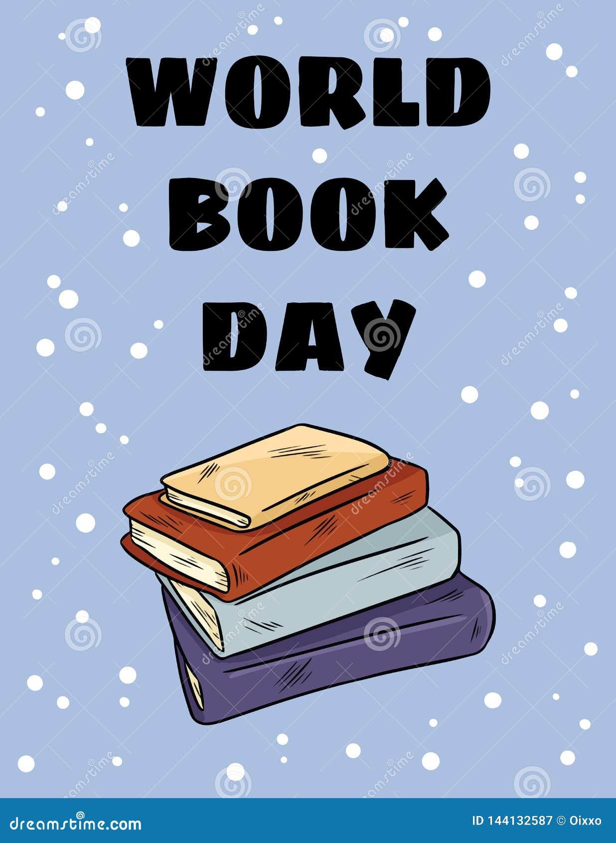 De dag van het wereldboek Stapel van de kleurrijke prentbriefkaar van het boeken leuke beeldverhaal