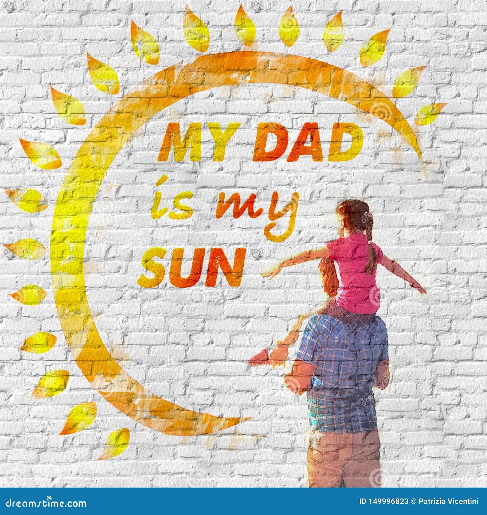 De dag van de vader `s Een liefdebericht op de muur