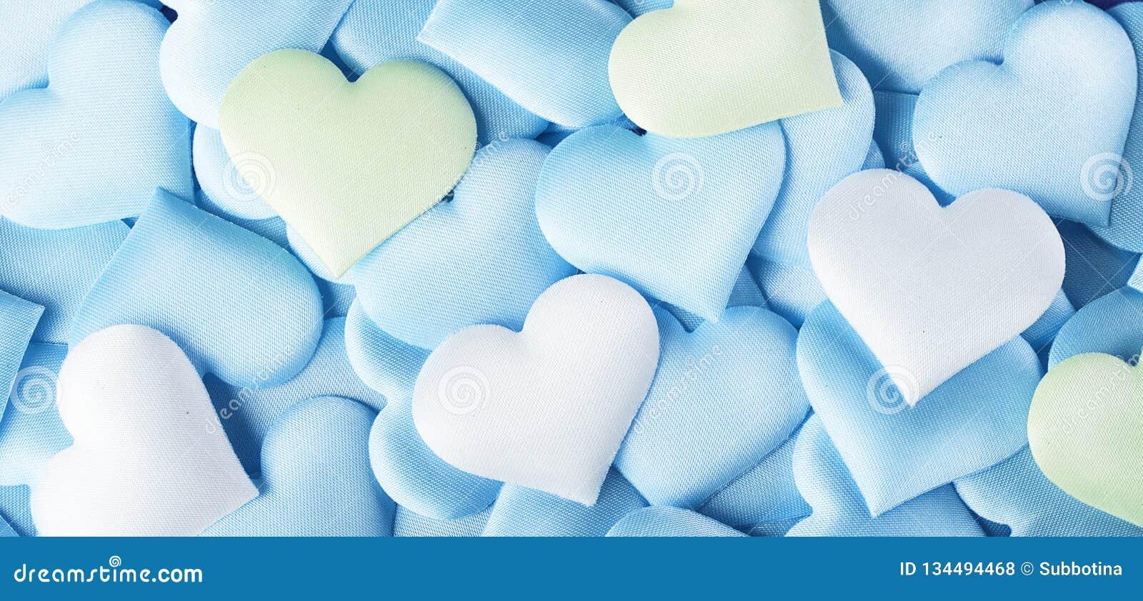 De dag van de valentijnskaart `s De blauwe achtergrond van de hartvorm Abstracte Valentine-achtergrond met de blauwe, groene en w
