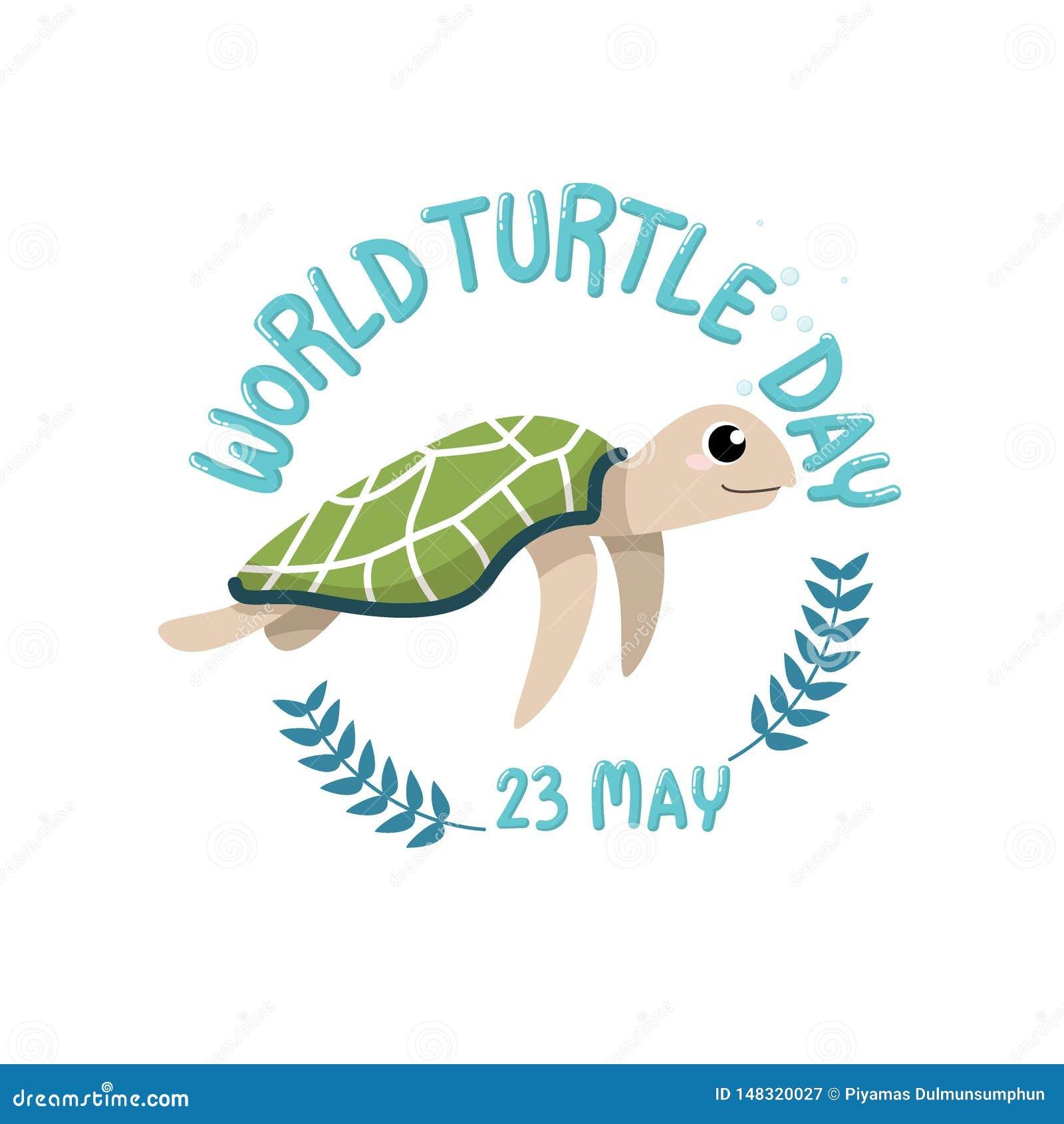 De DAG van de WERELDschildpad, 23 Mei embleem met beeldverhaal van leuke schildpad met de schildpaddag van de tekstwereld, 23 Mei