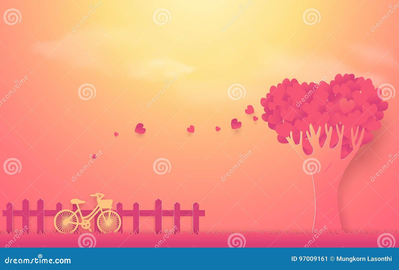 De dagconcept van de valentijnskaart ` s Boom uit harten en fiets wordt gemaakt die