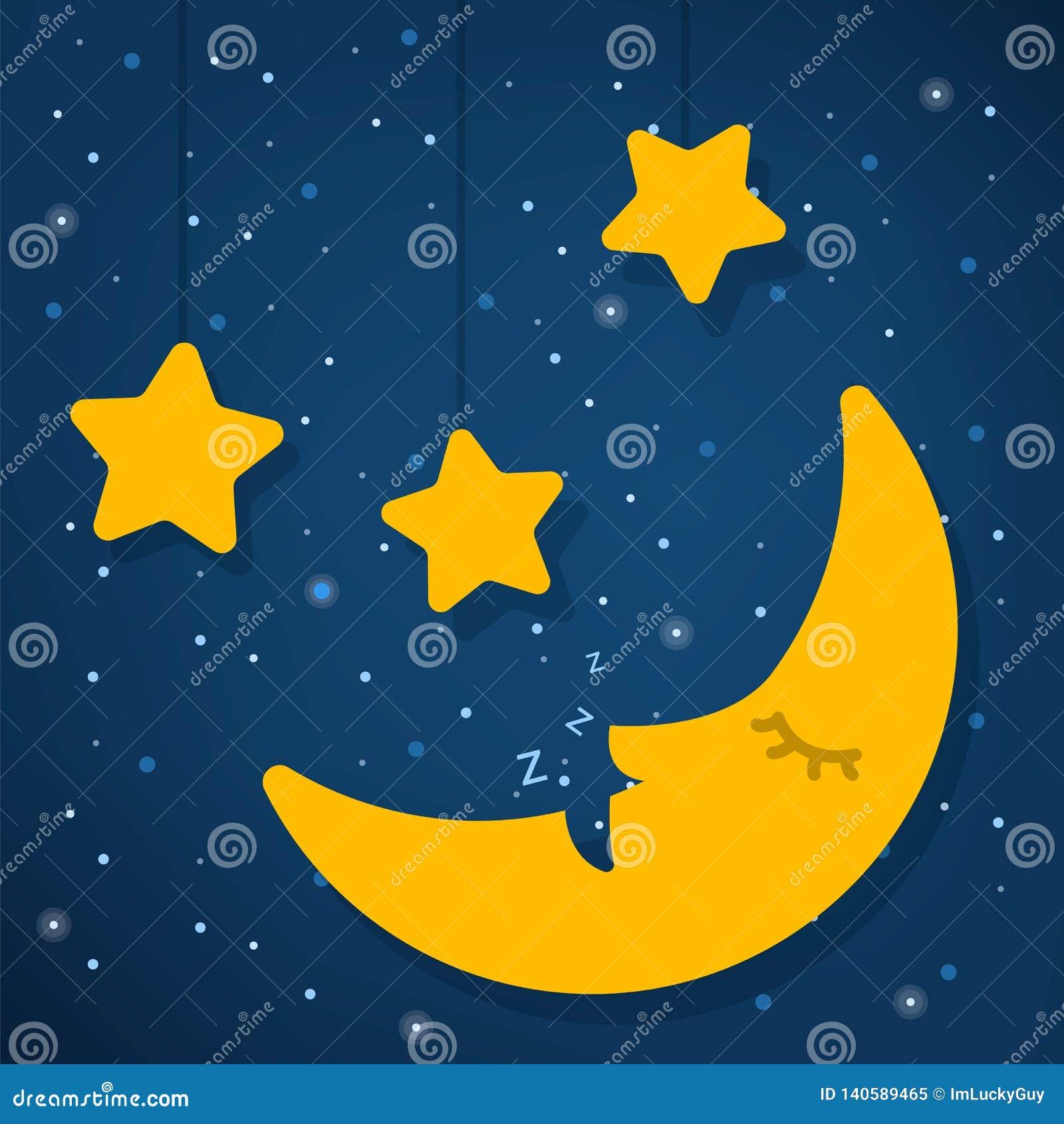 De dagconcept van de wereldslaap Goede nacht Ster en maan