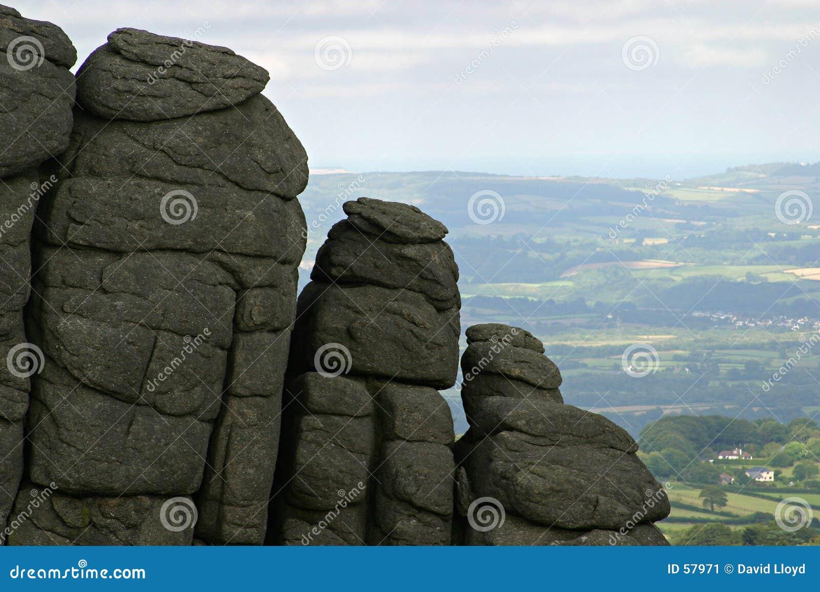 De dagzomende aardlaag van het graniet
