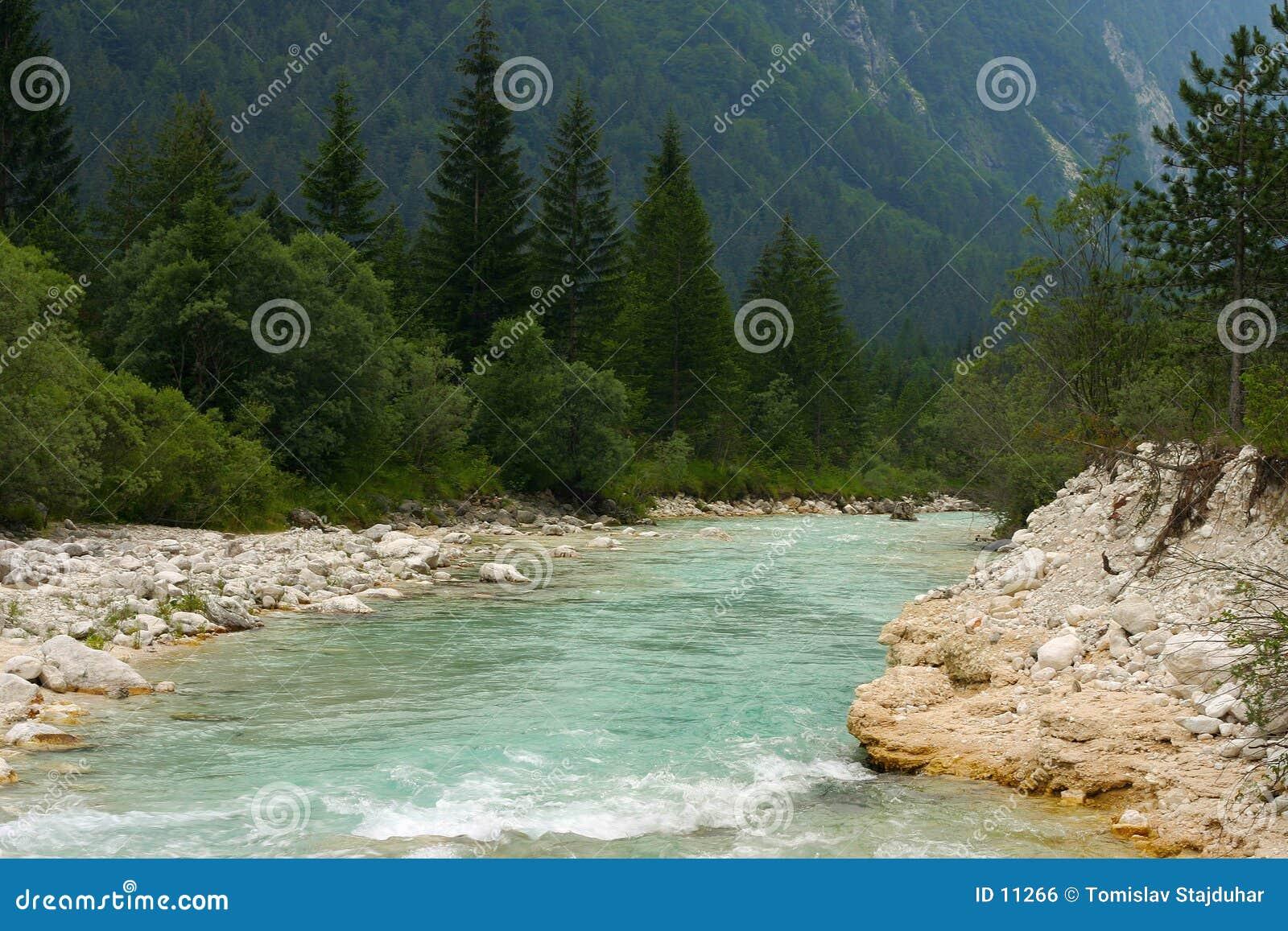 De dalingen van Soca van de rivier